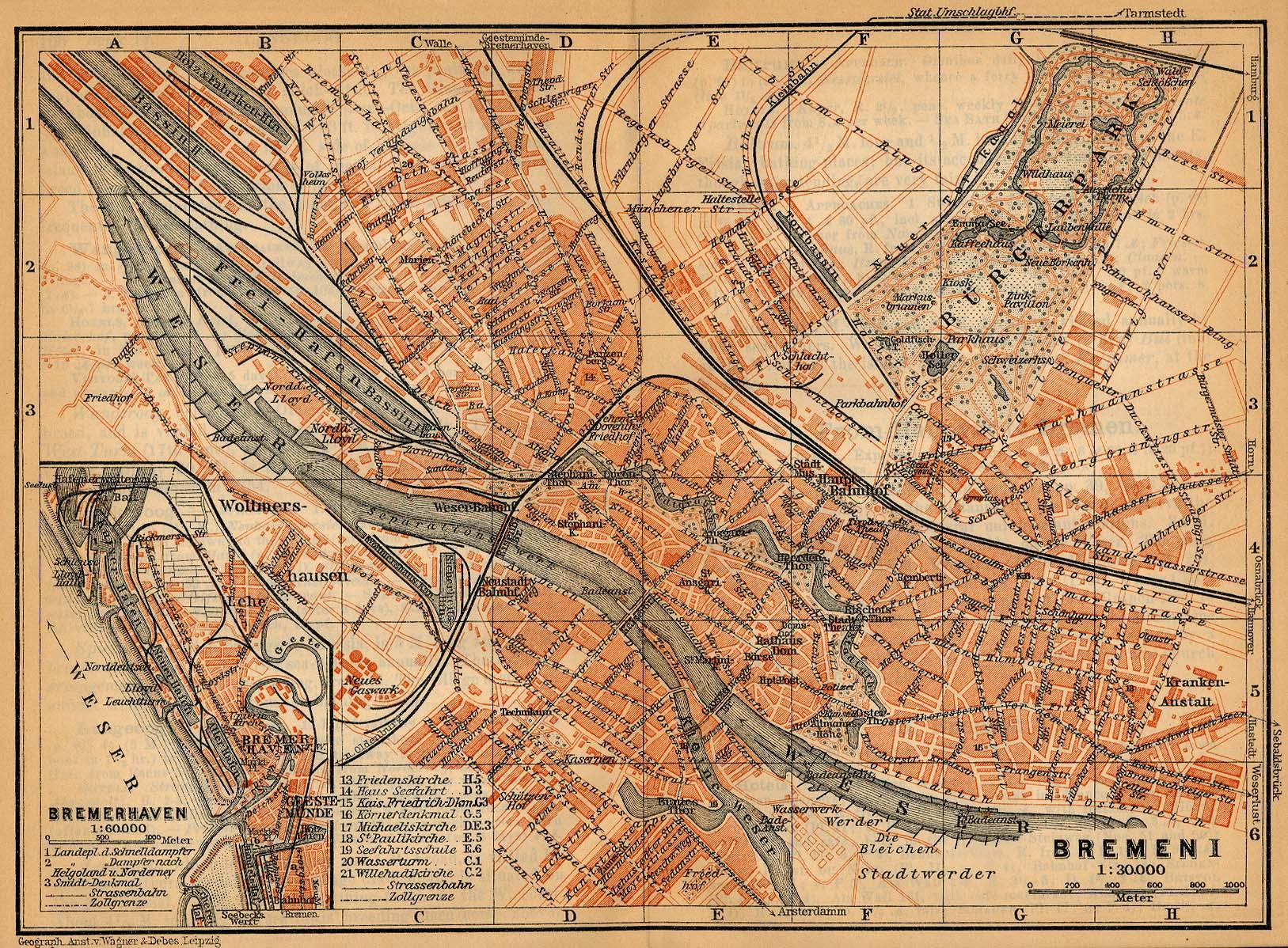 Mapa de Bremerhaven, Alemania 1910