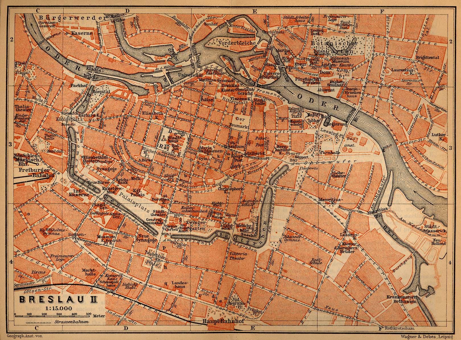 Wroclaw (Breslau) Inner Town Map, Poland 1910