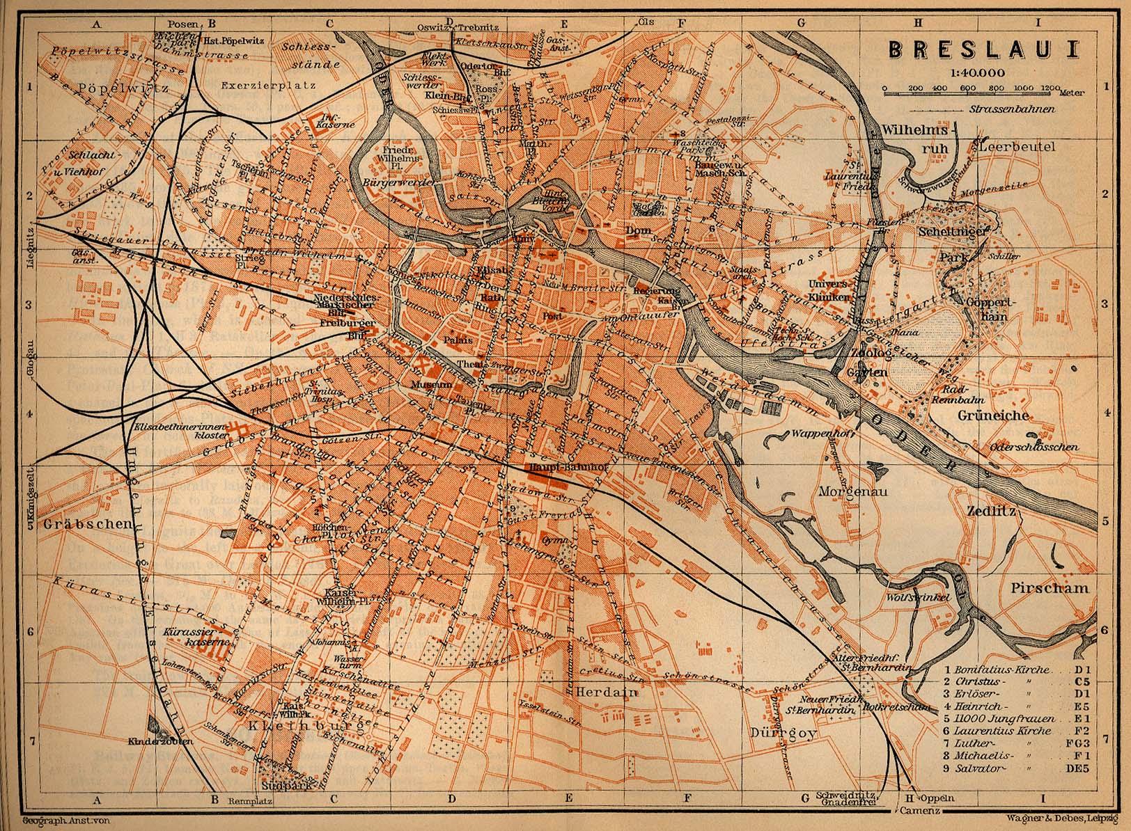 Mapa de Breslavia (Bresláu), Polonia 1910
