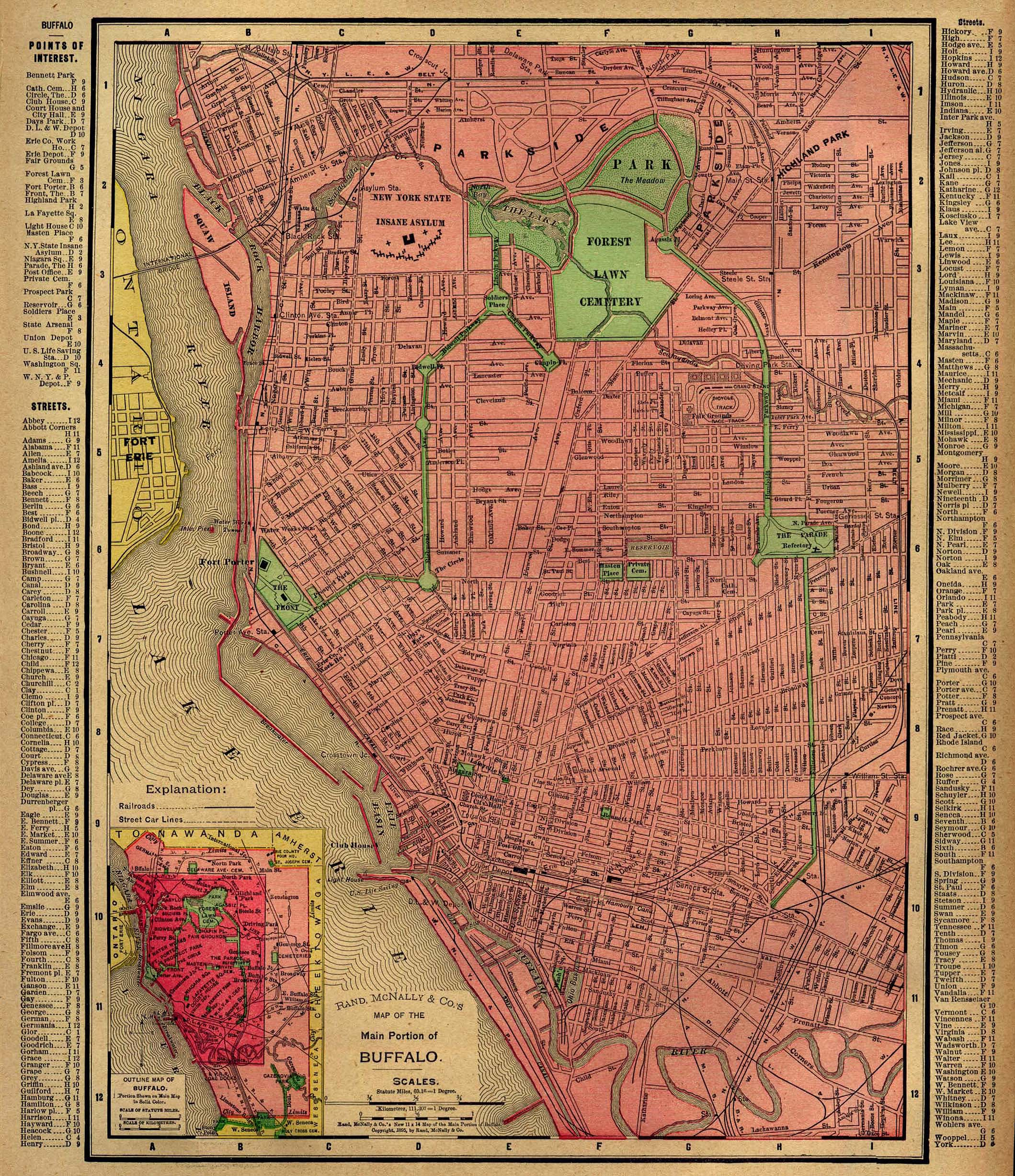 Mapa de Buffalo, Nueva York, Estados Unidos 1896