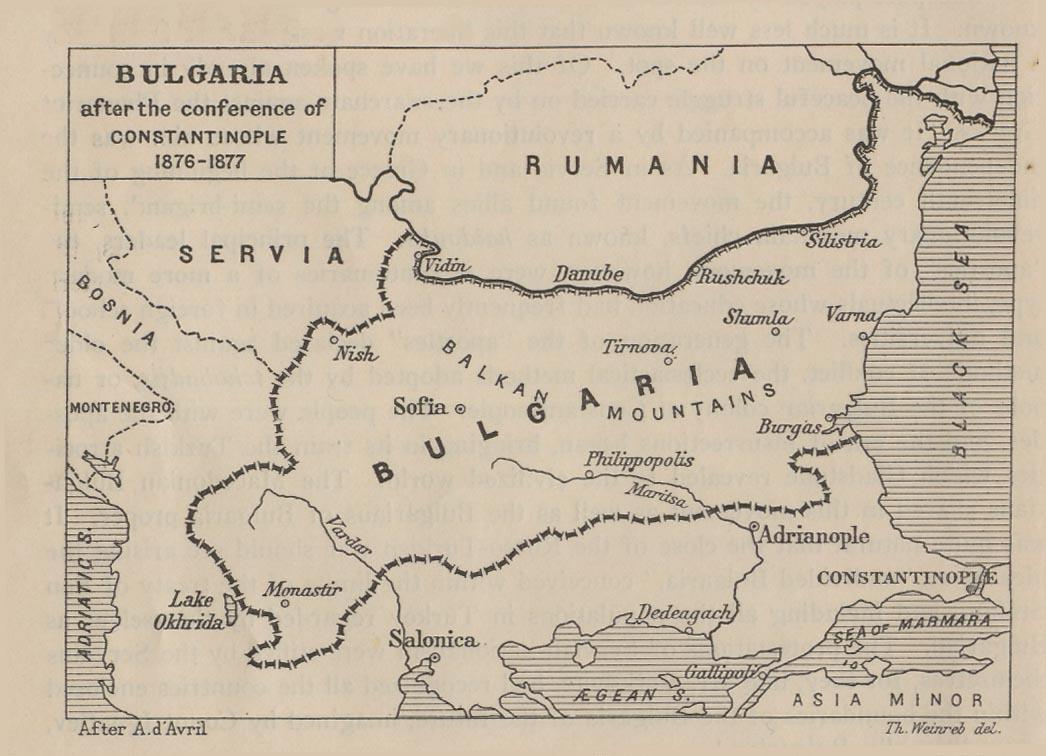 Mapa de Bulgaria Despues de la Conferencia de Constantinopla 1876  - 1877