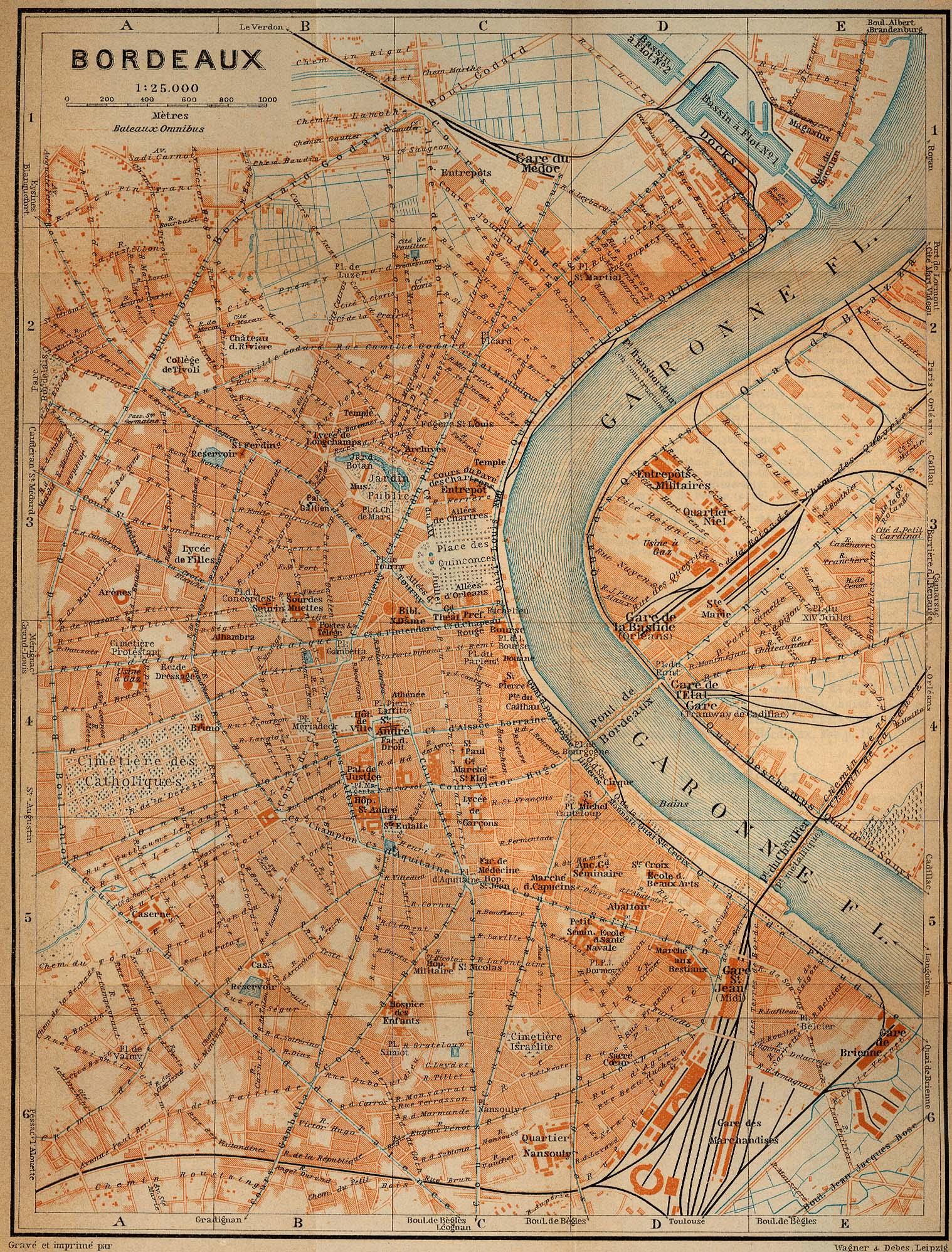Mapa de Burdeos, Francia 1914
