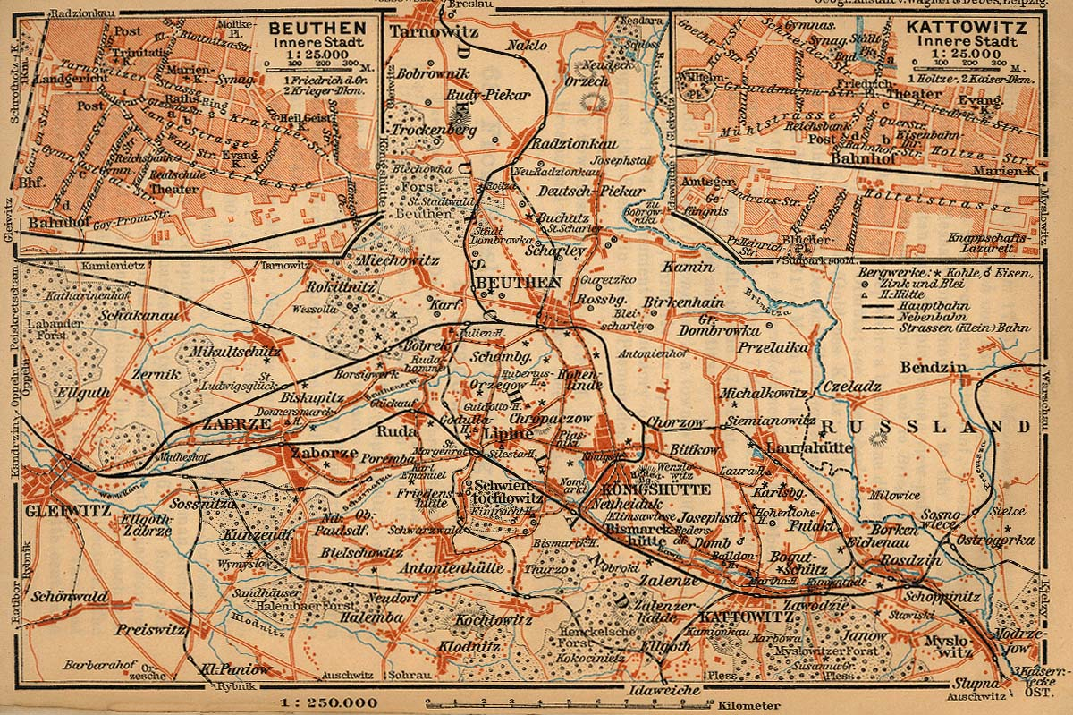 Mapa de Bytom (Beuthen), Alta Silesia, Polonia  1910