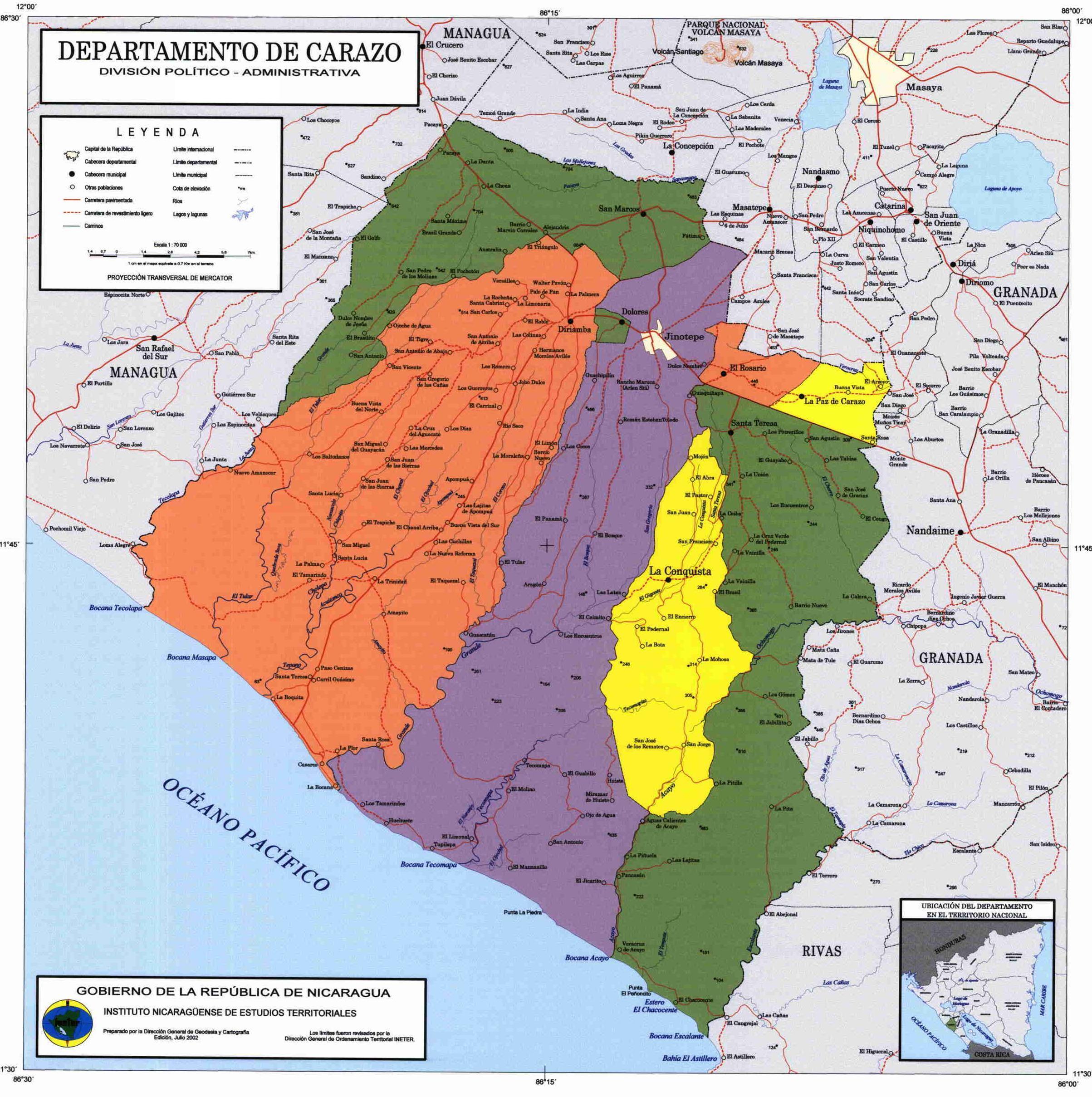 Mapa de Carazo, División Político-Administrativa del Departamento, Nicaragua