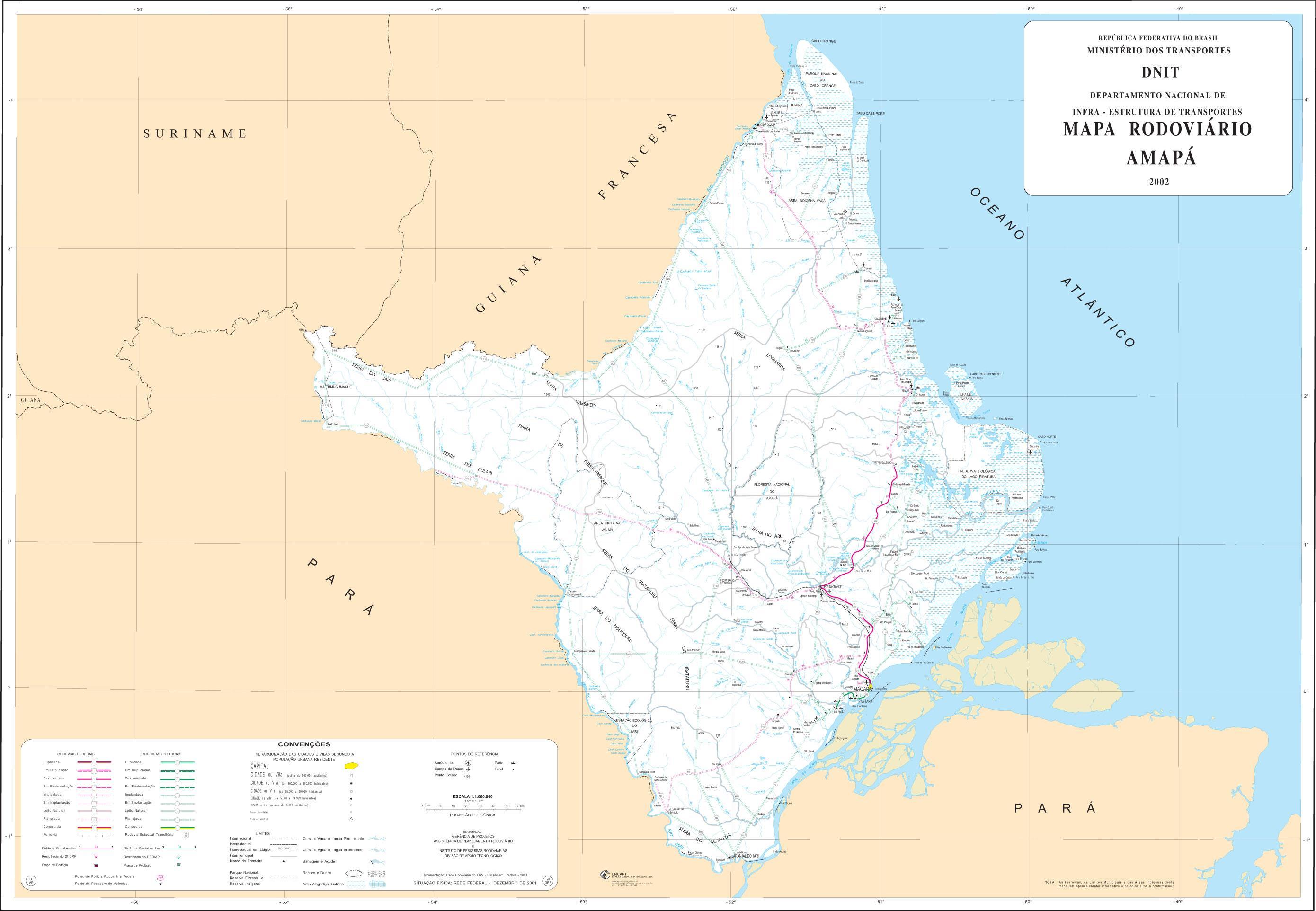 Amapá State Road Map, Brazil