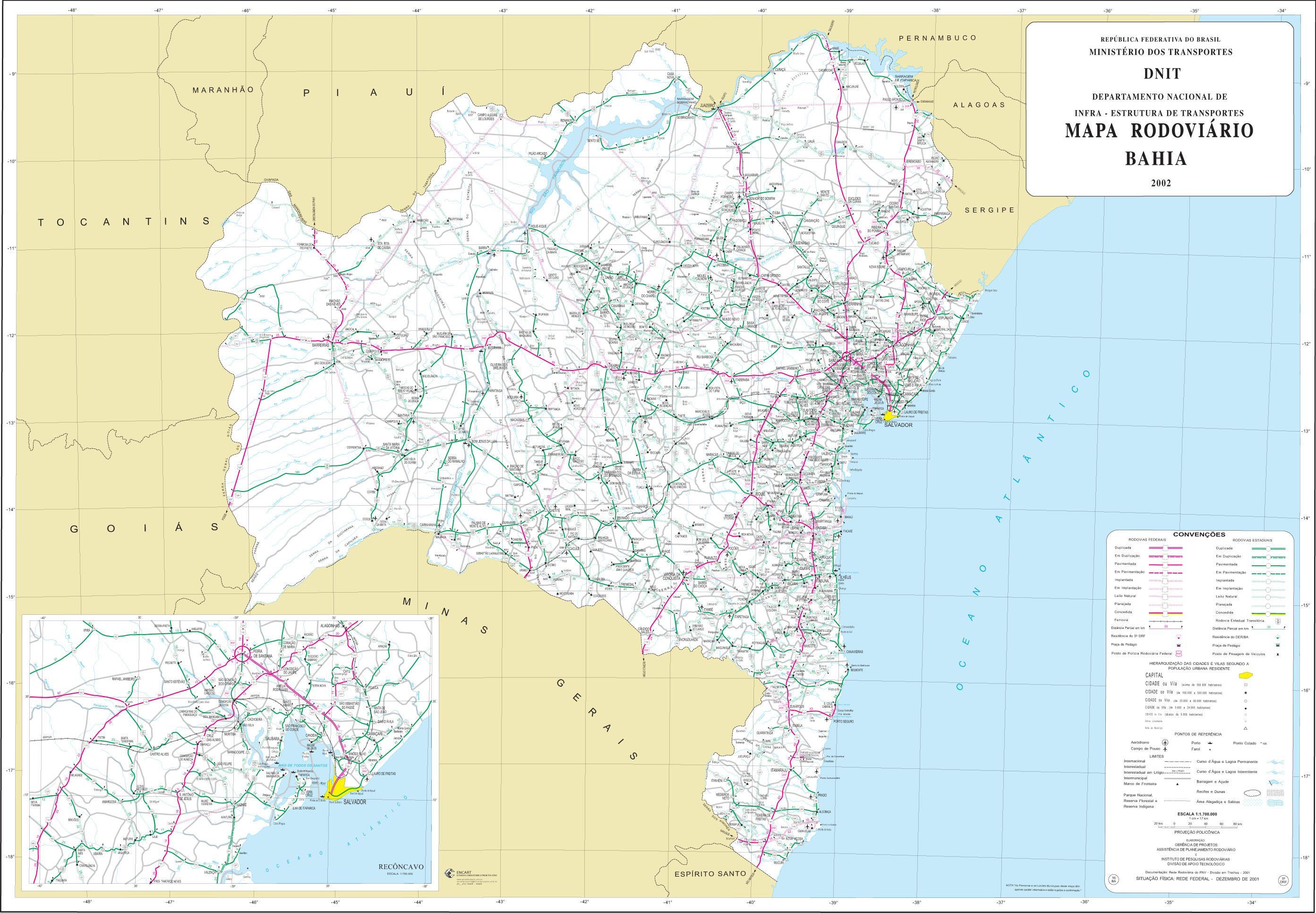 Mapa de Carreteras Federales y Estatales del Edo. de Bahia, Brasil
