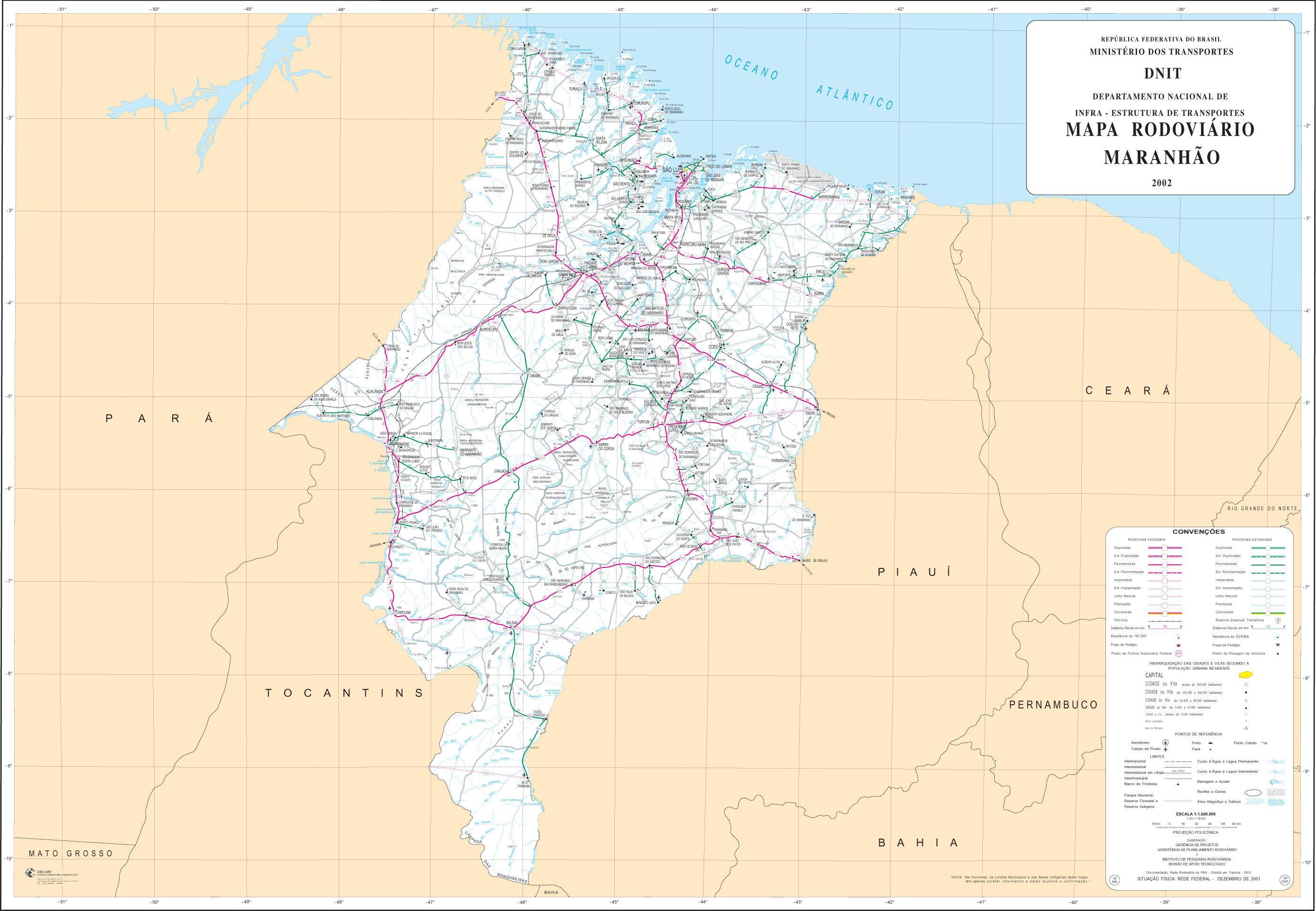 Maranhão State Road Map, Brazil