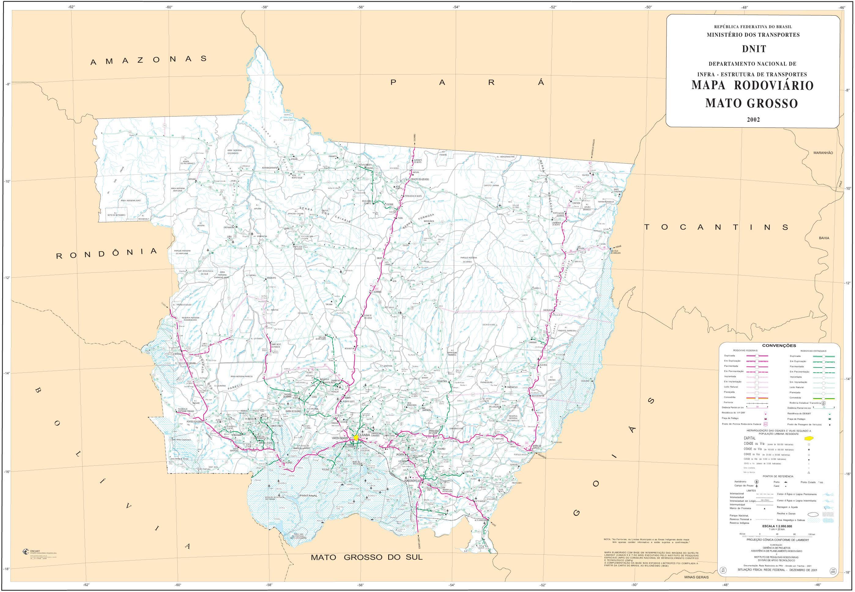 Mapa de Carreteras Federales y Estatales del Edo. de Mato Grosso, Brasil