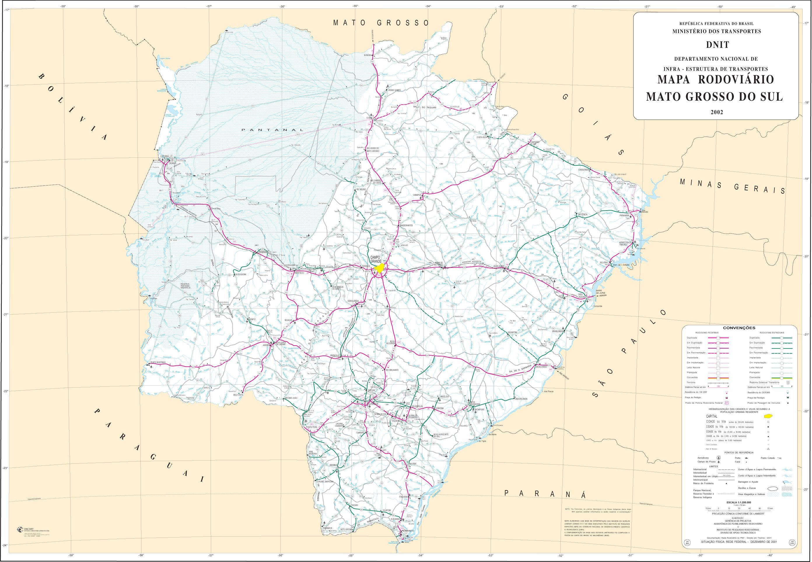 Mapa de Carreteras Federales y Estatales del Edo. de Mato Grosso do Sul