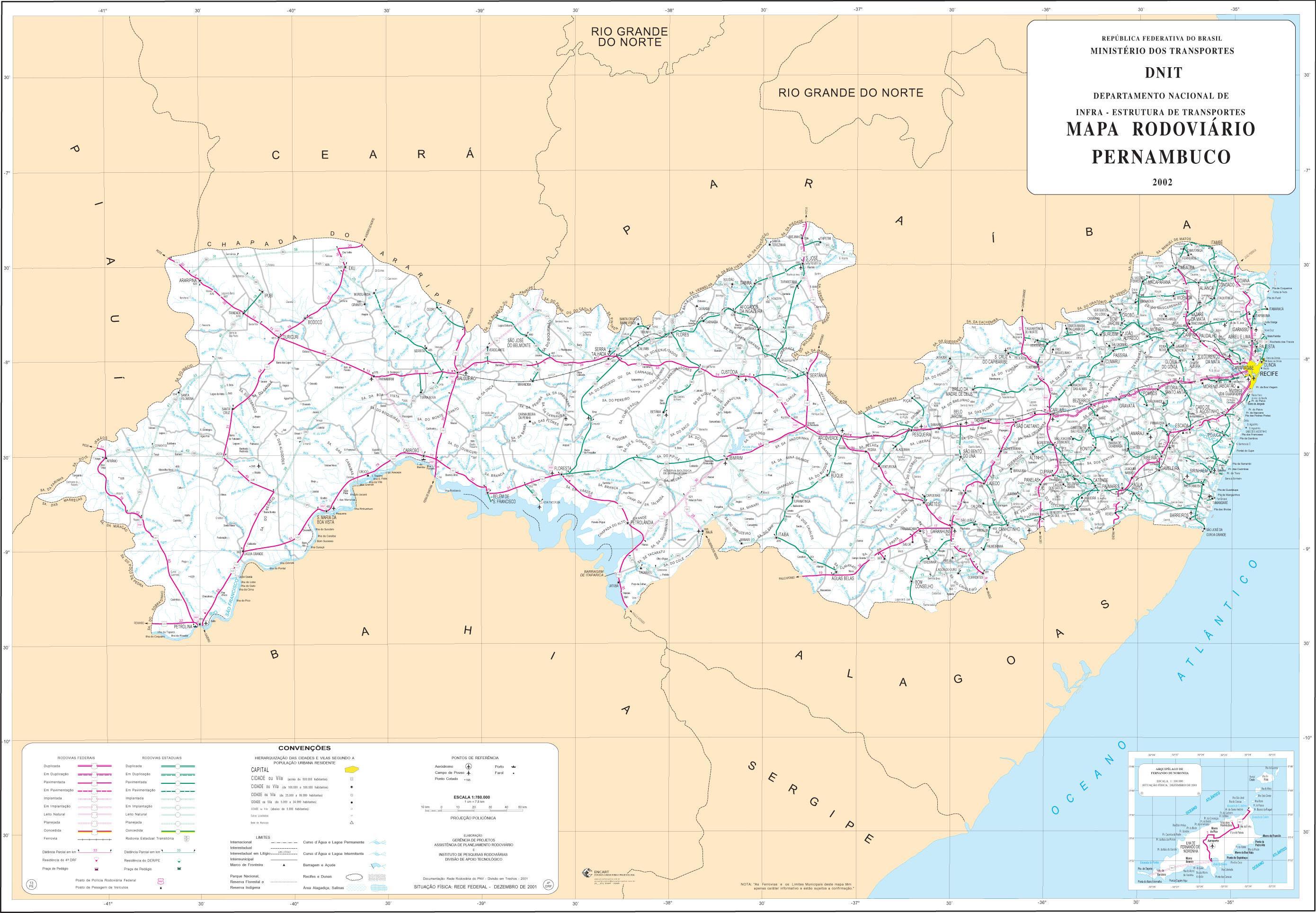 Mapa de Carreteras Federales y Estatales del Edo. de Pernambuco, Brasil