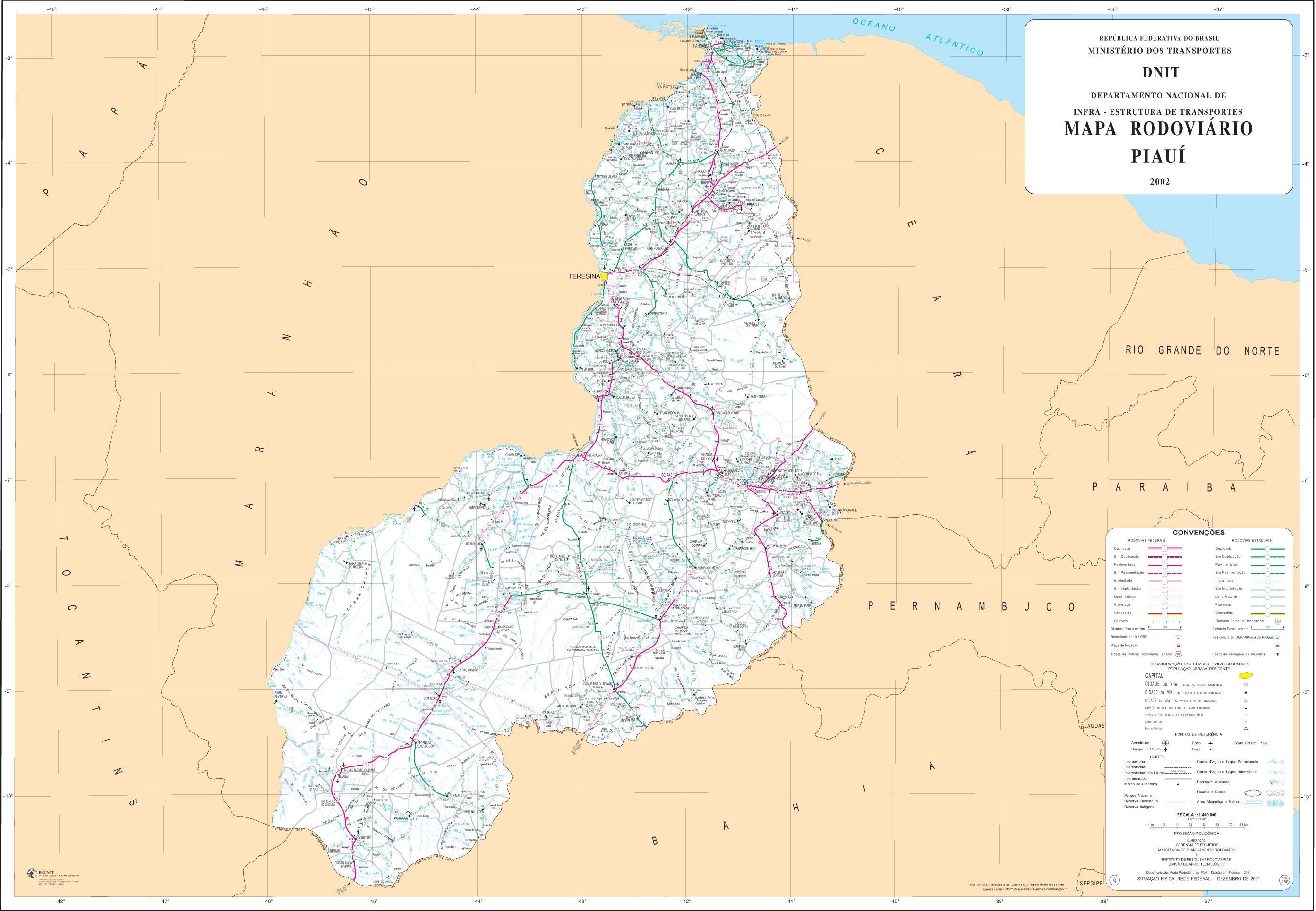 Mapa de Carreteras Federales y Estatales del Edo. de Piauí, Brasil