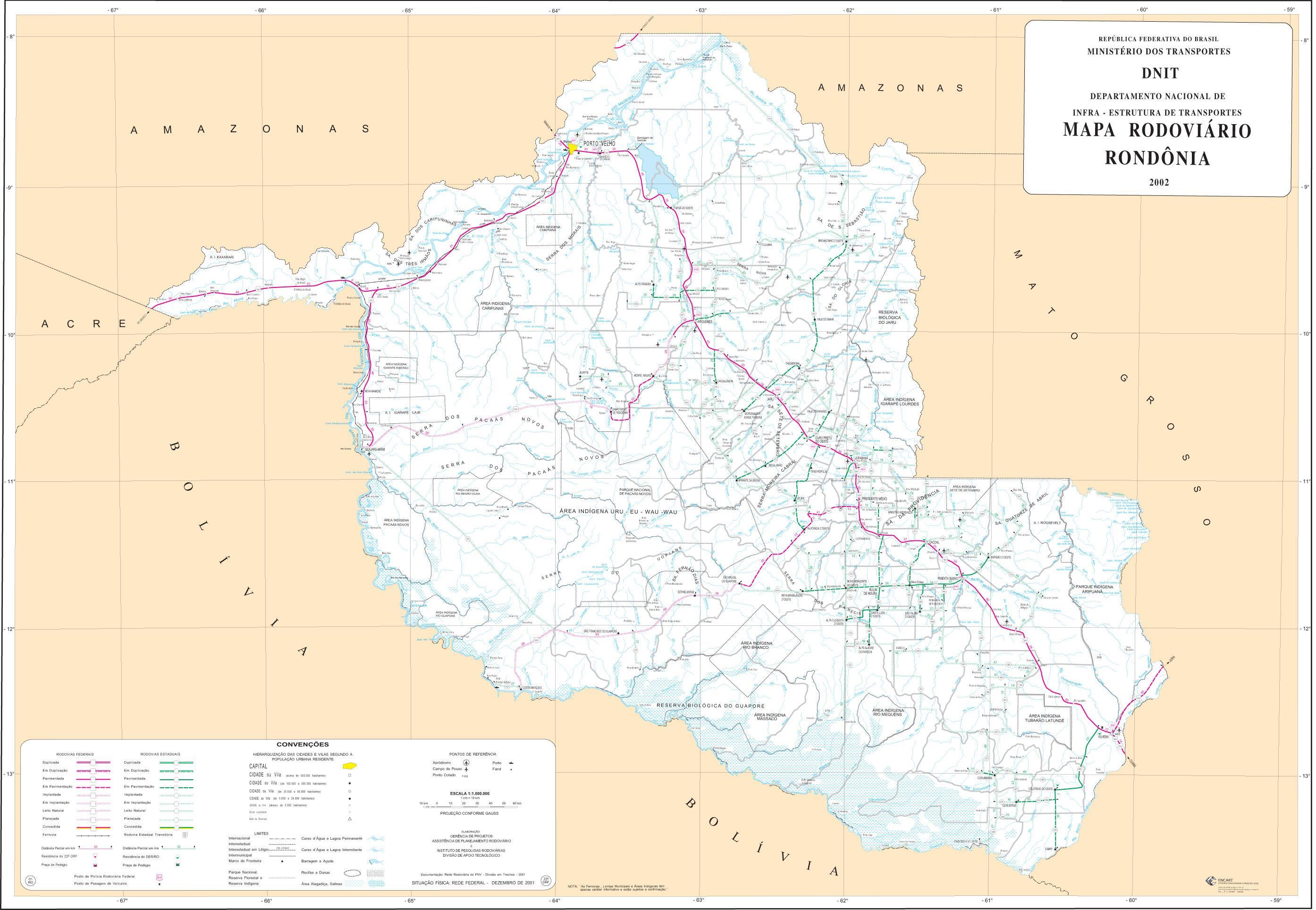 Mapa de Carreteras Federales y Estatales del Edo. de Rondônia, Brasil