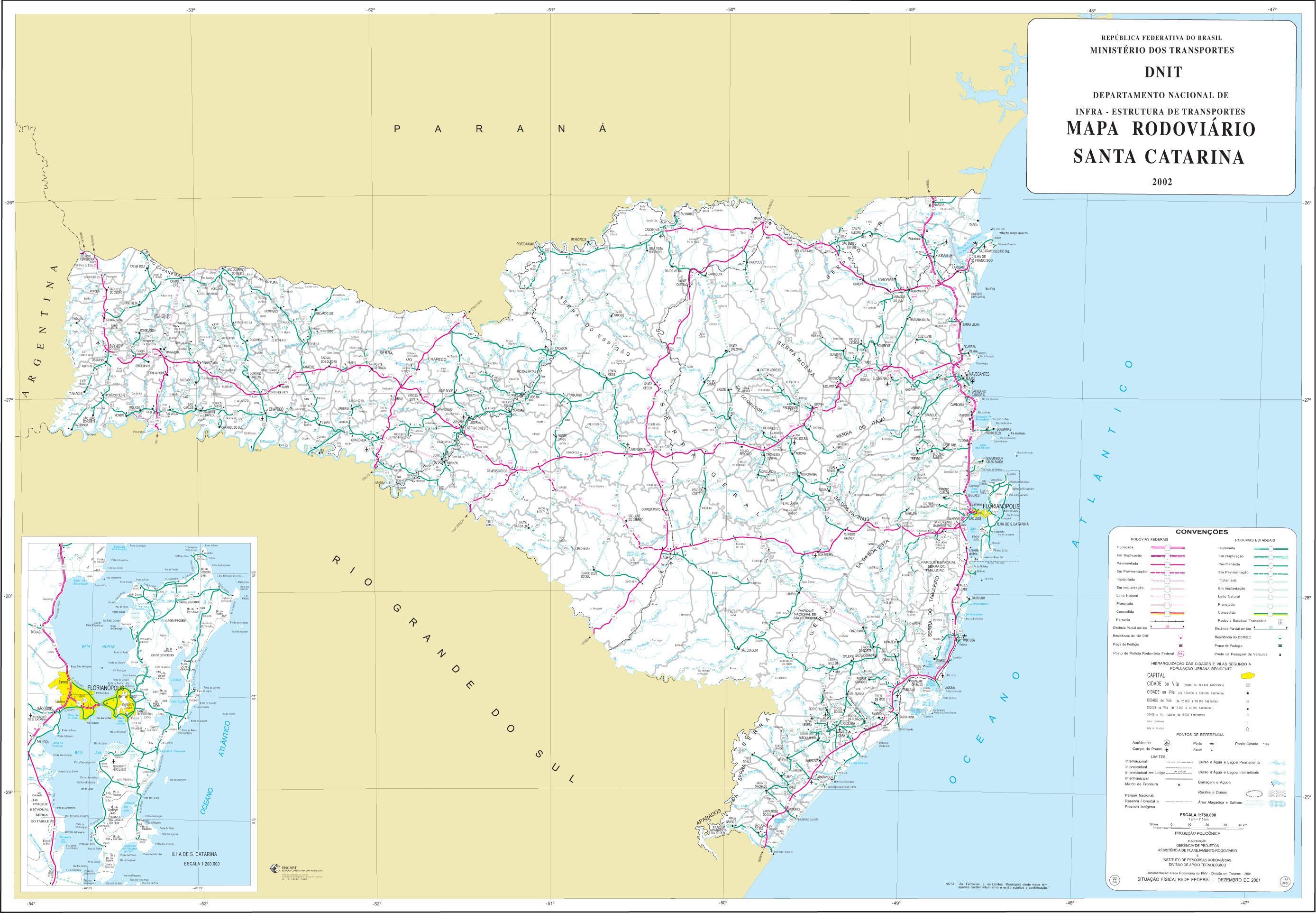 Mapa de Carreteras Federales y Estatales del Edo. de Santa Catarina, Brasil