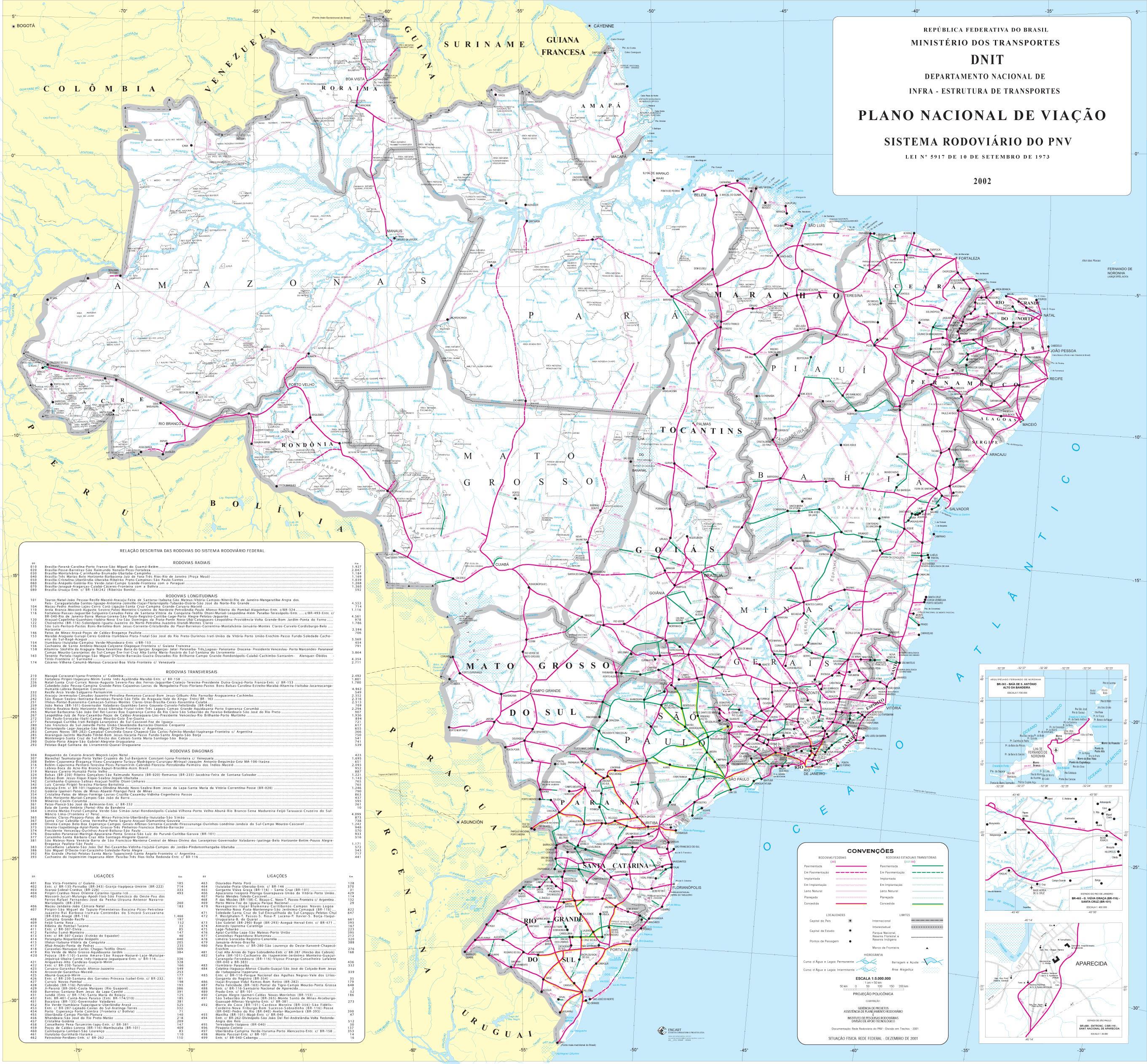 Mapa de Carreteras de Brasil, America del Sur