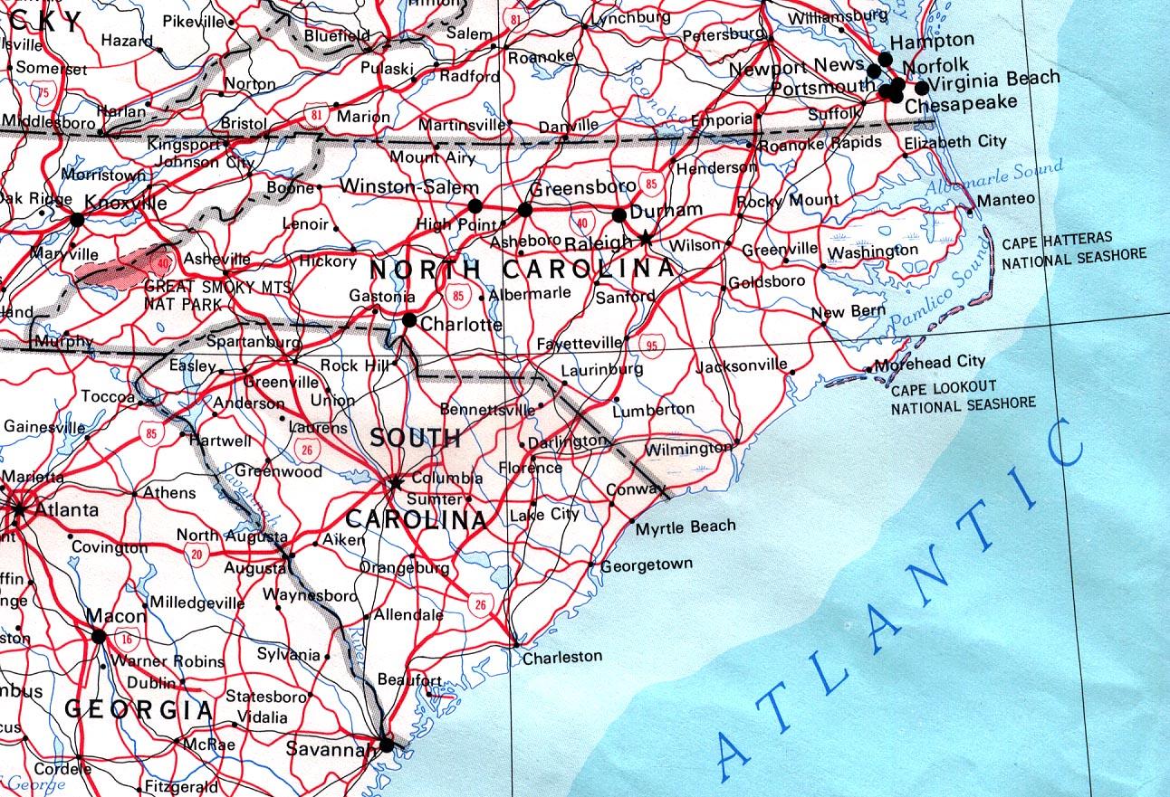 Mapa de Carreteras de Carolina del Norte, Estados Unidos