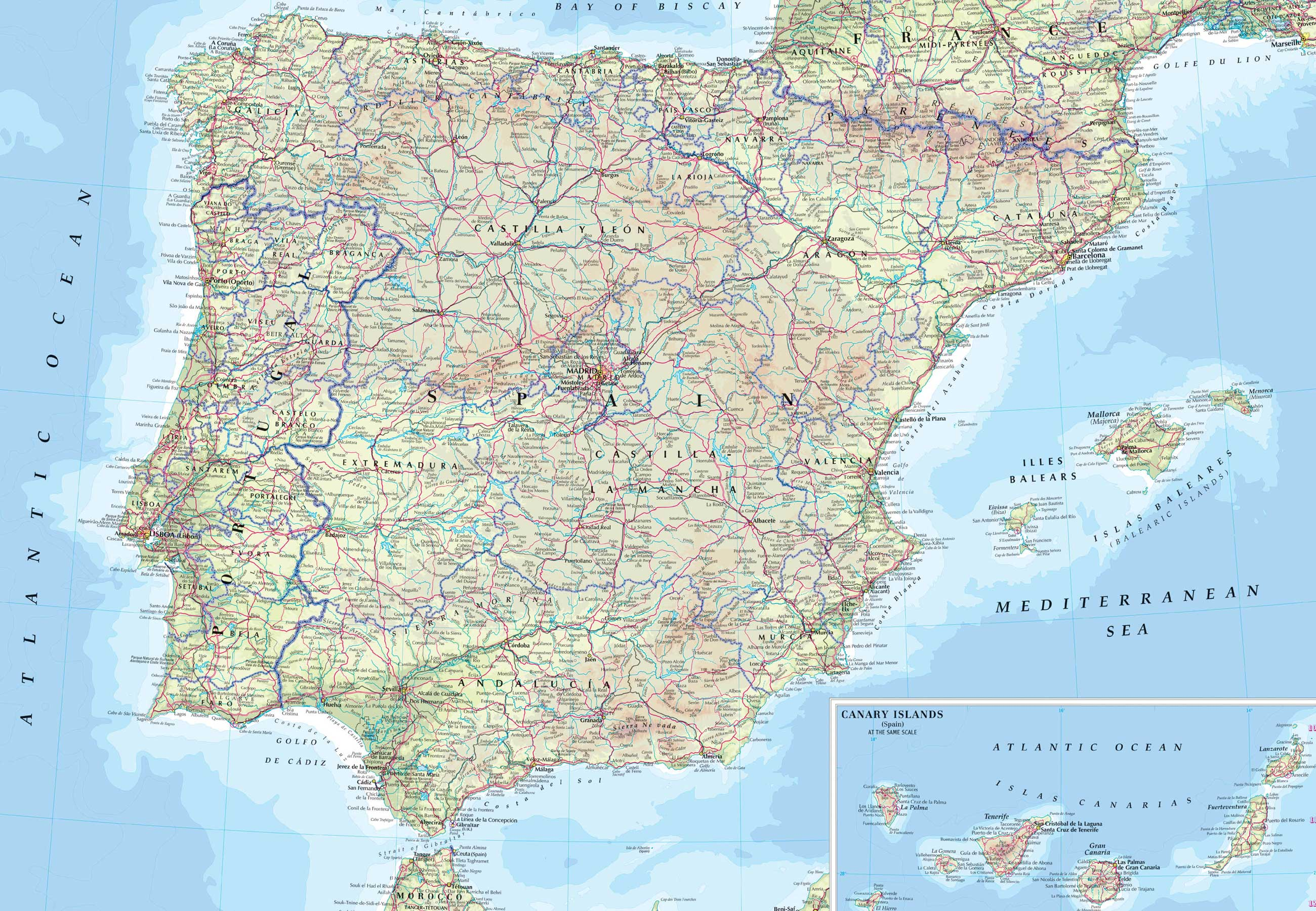 Spain and Portugal road map