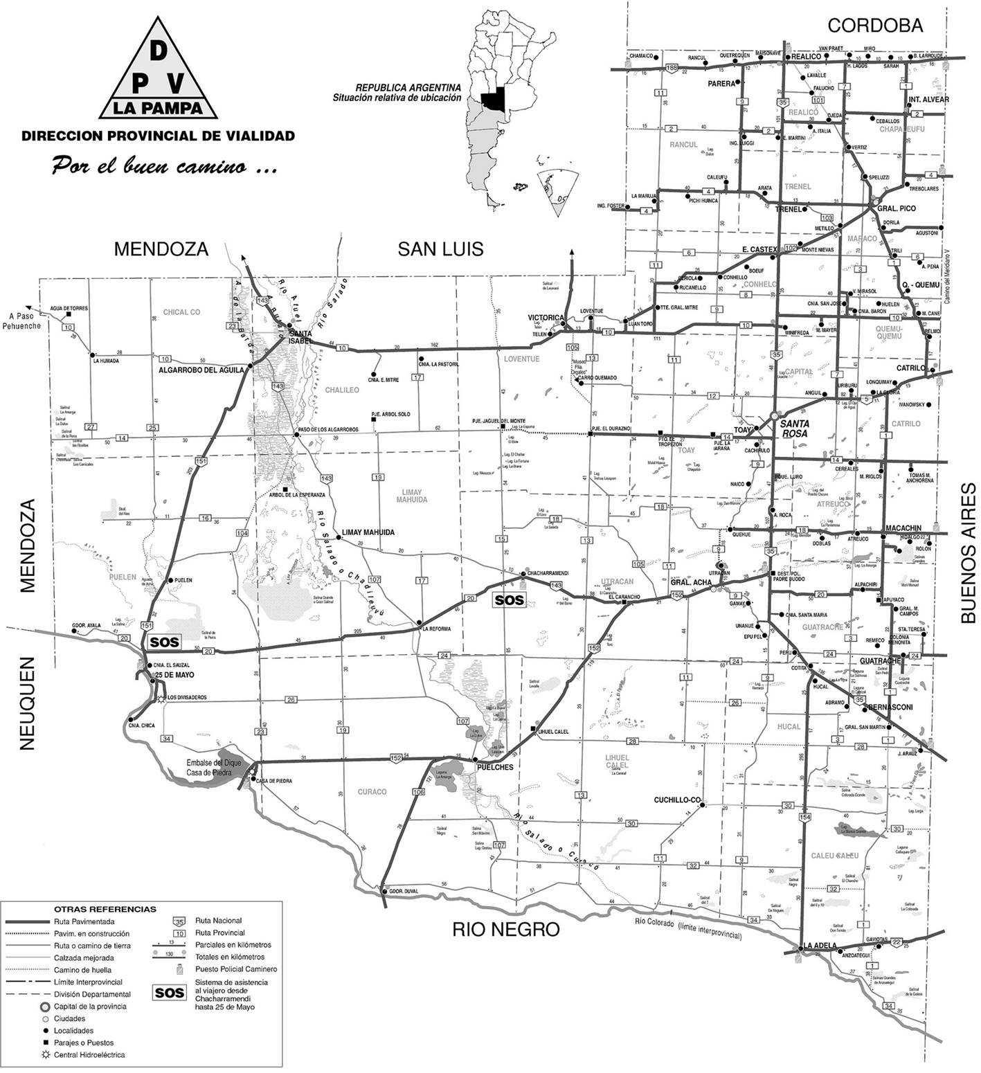 Mapa de Carreteras de La Pampa, Argentina