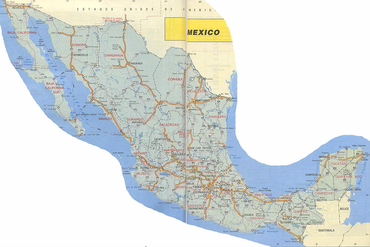 Mapa de Carreteras de Mexico
