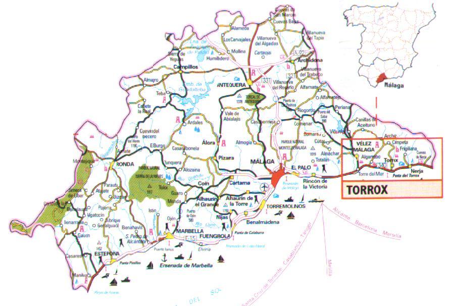 Mapa De Carreteras Provincia De Malaga Espana Mapa Owje Com