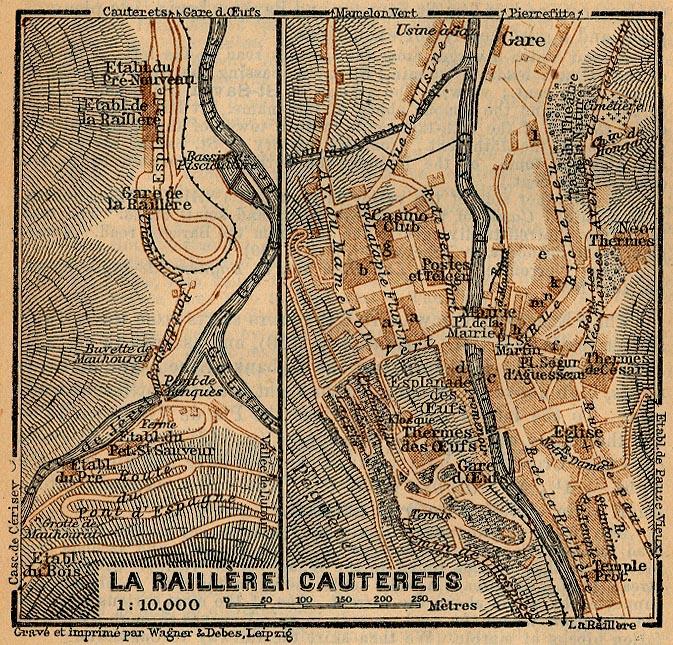 Mapa de Cauterets, Francia 1914