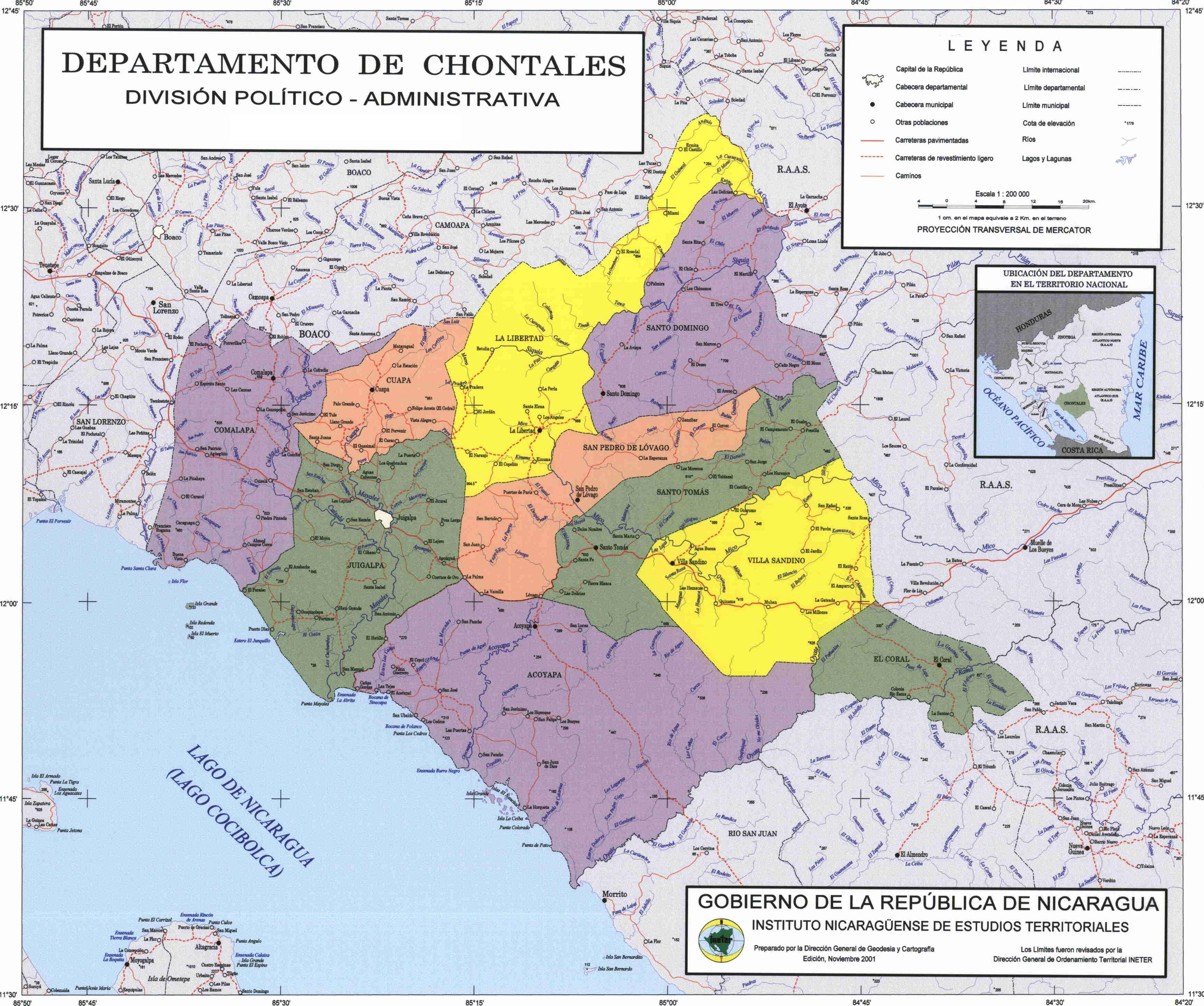 Chontales Department Administrative Political Map, Nicaragua