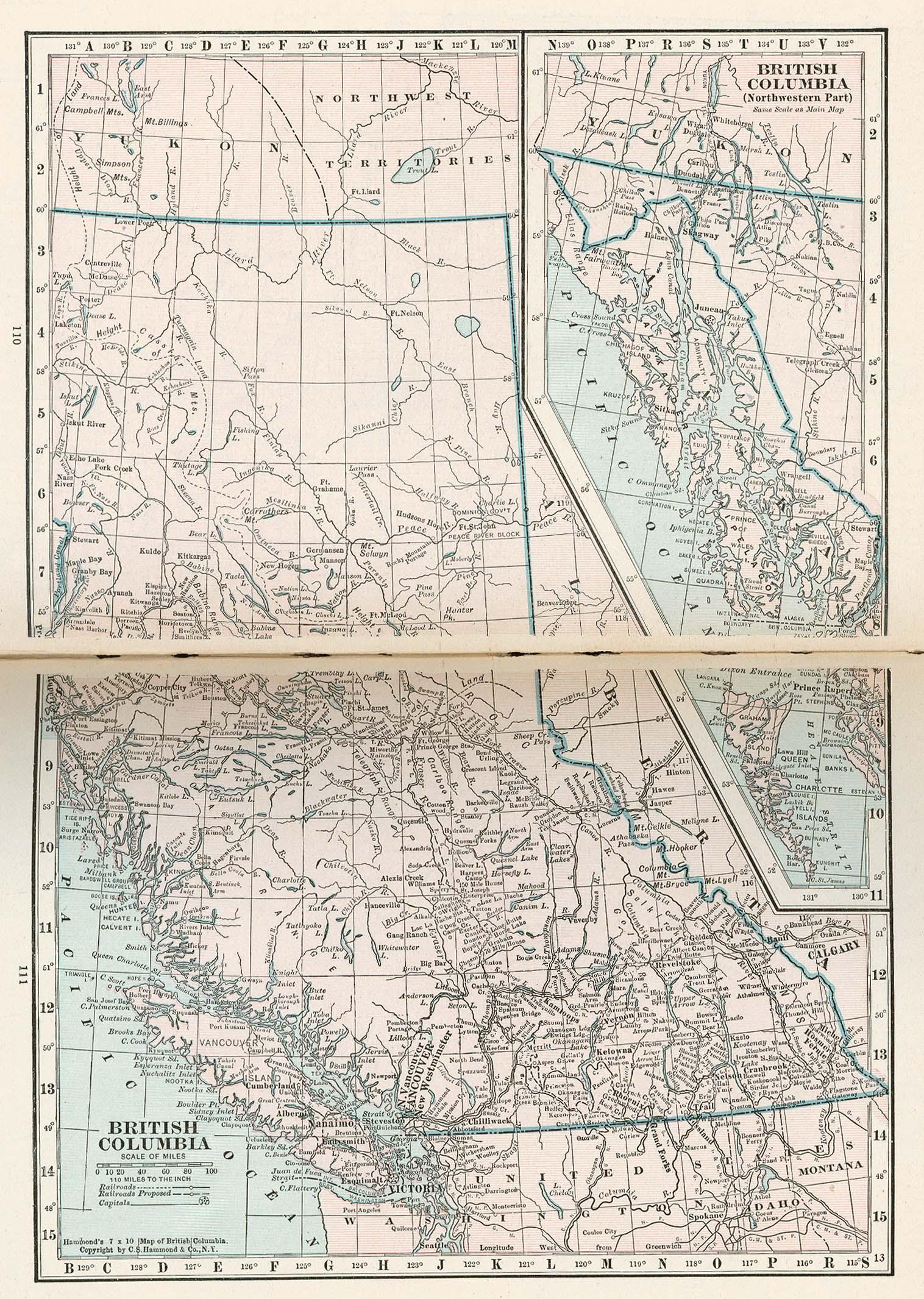Mapa de Columbia Británica, Canadá 1921