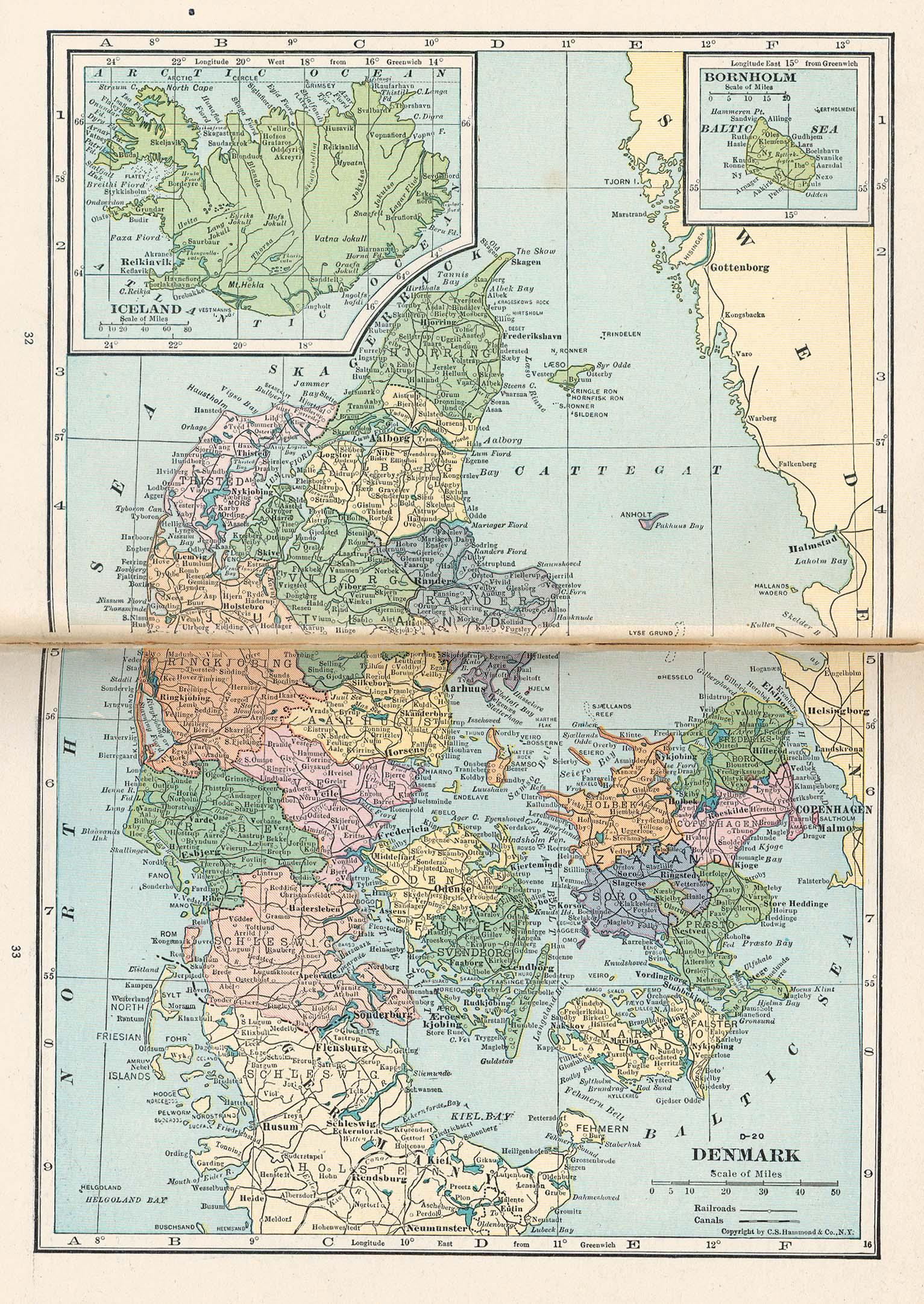 Mapa de Dinamarca 1921