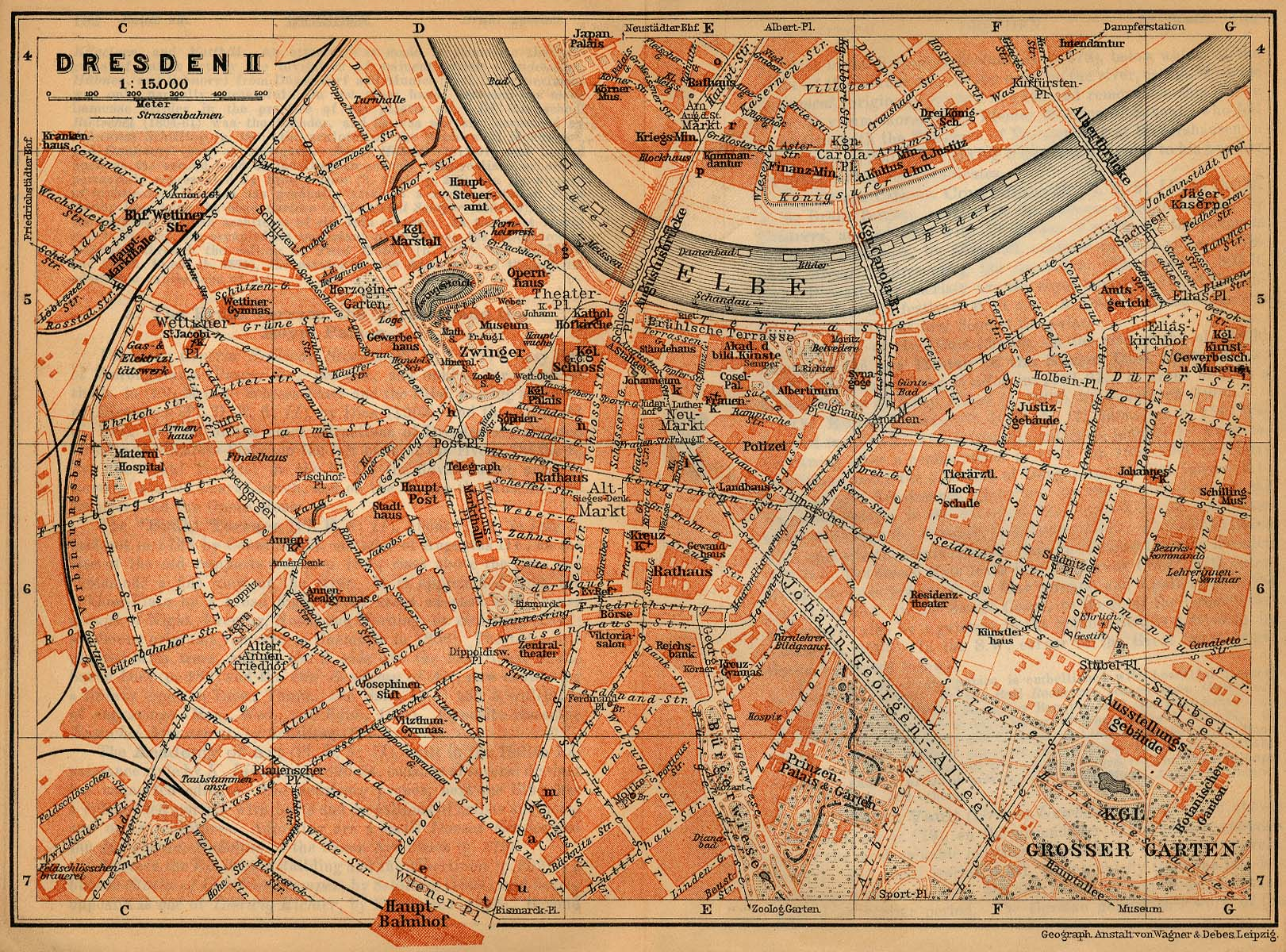 Dresden (Inner Town) Map, Germany 1910