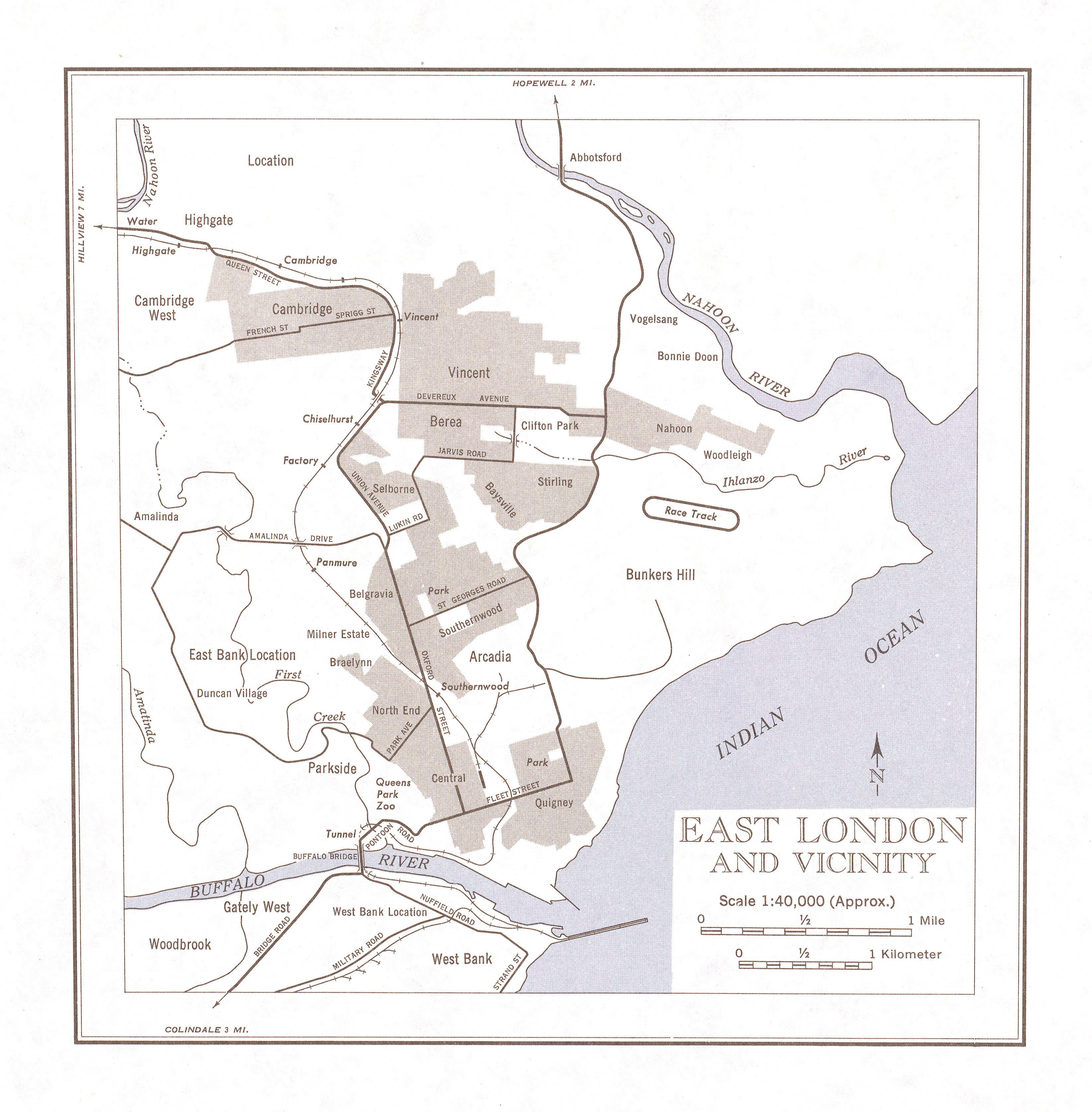 East London and Vicinity Map, South Africa 1954