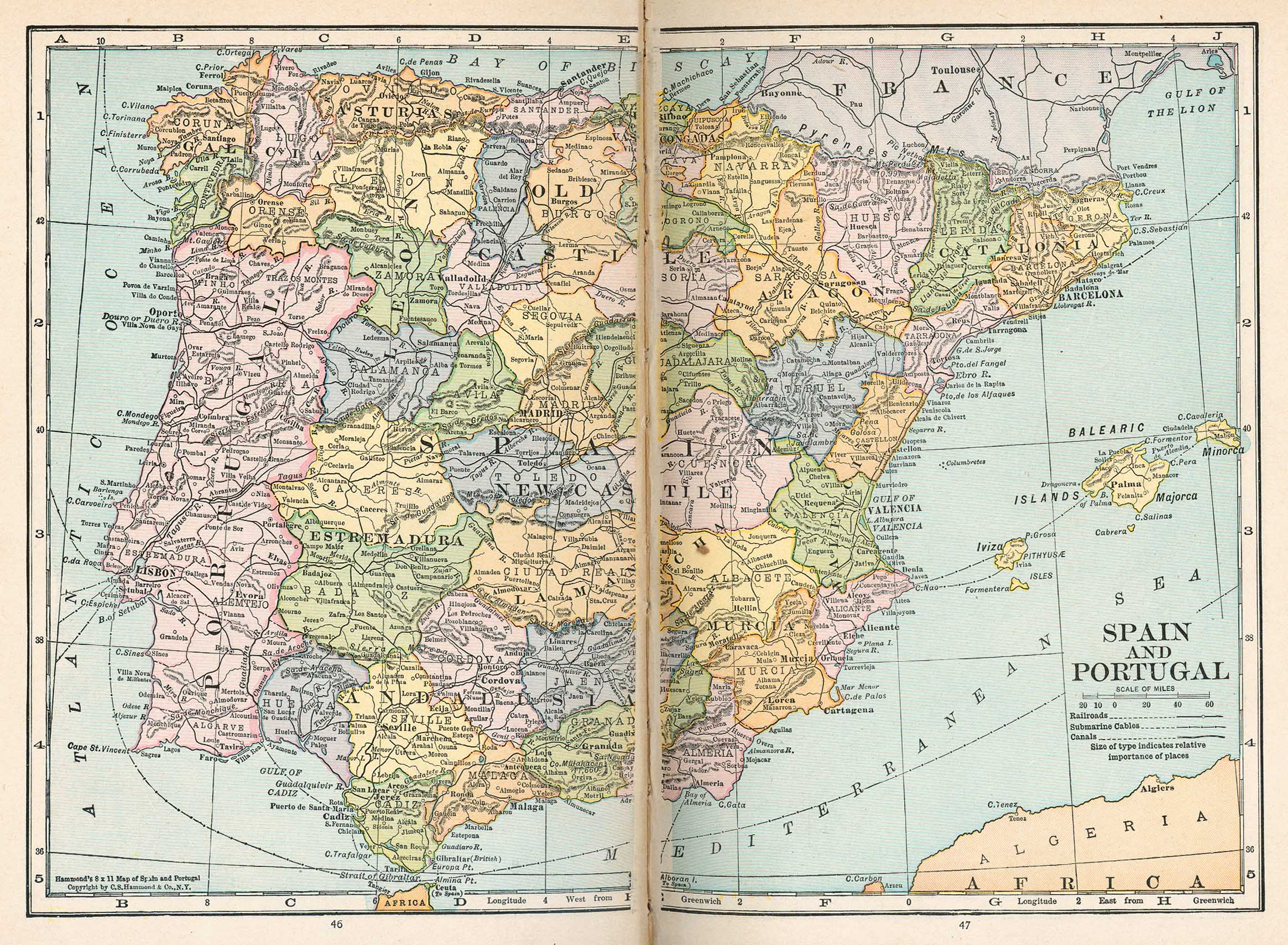 Spain and Portugal Map 1921