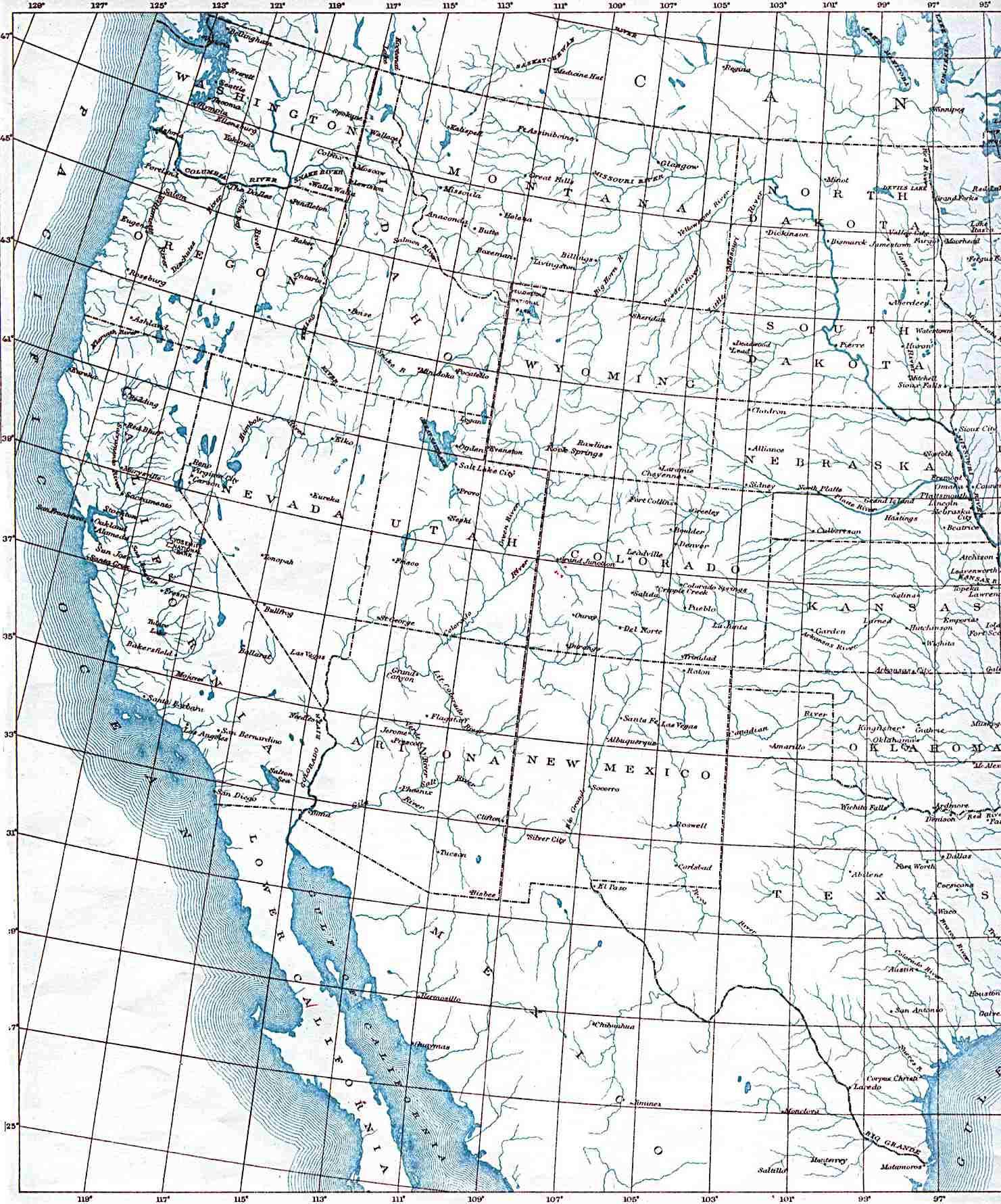 Maps of Western United States Map 1906 - mapa.owje.com