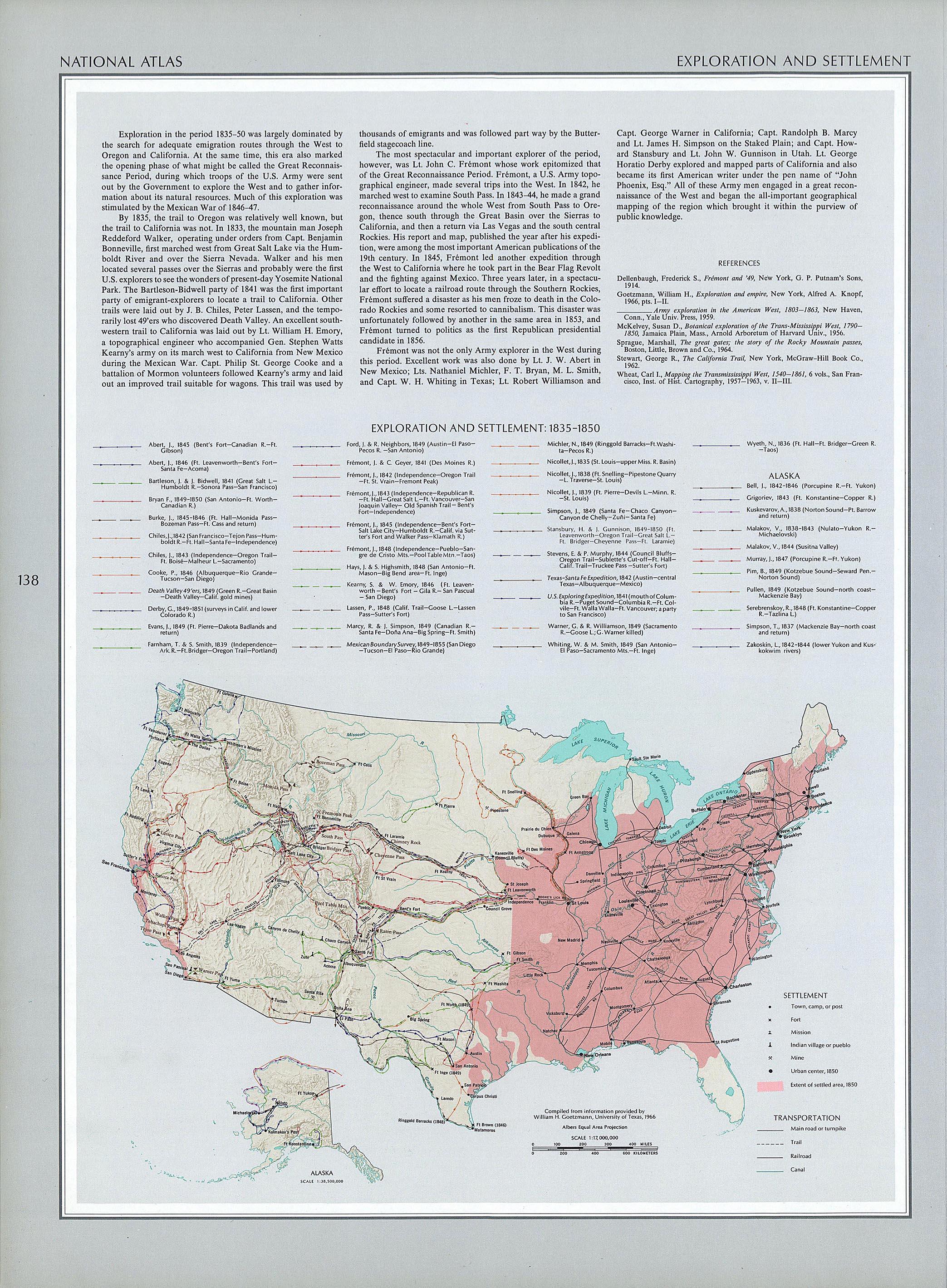 Mapa de Exploración y Asentamientos, Estados Unidos 1835 -  1850