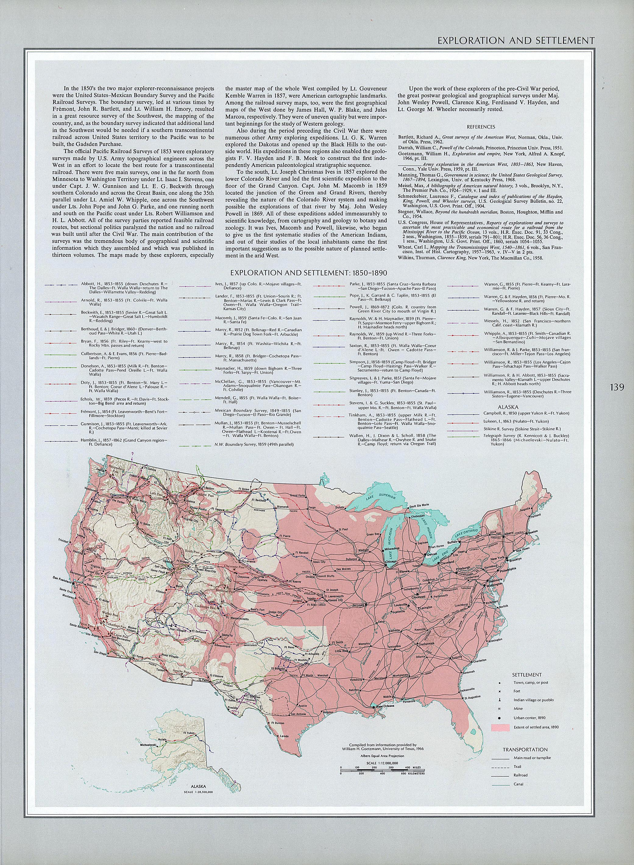 Exploration and Settlement Map, United States 1850  - 1890