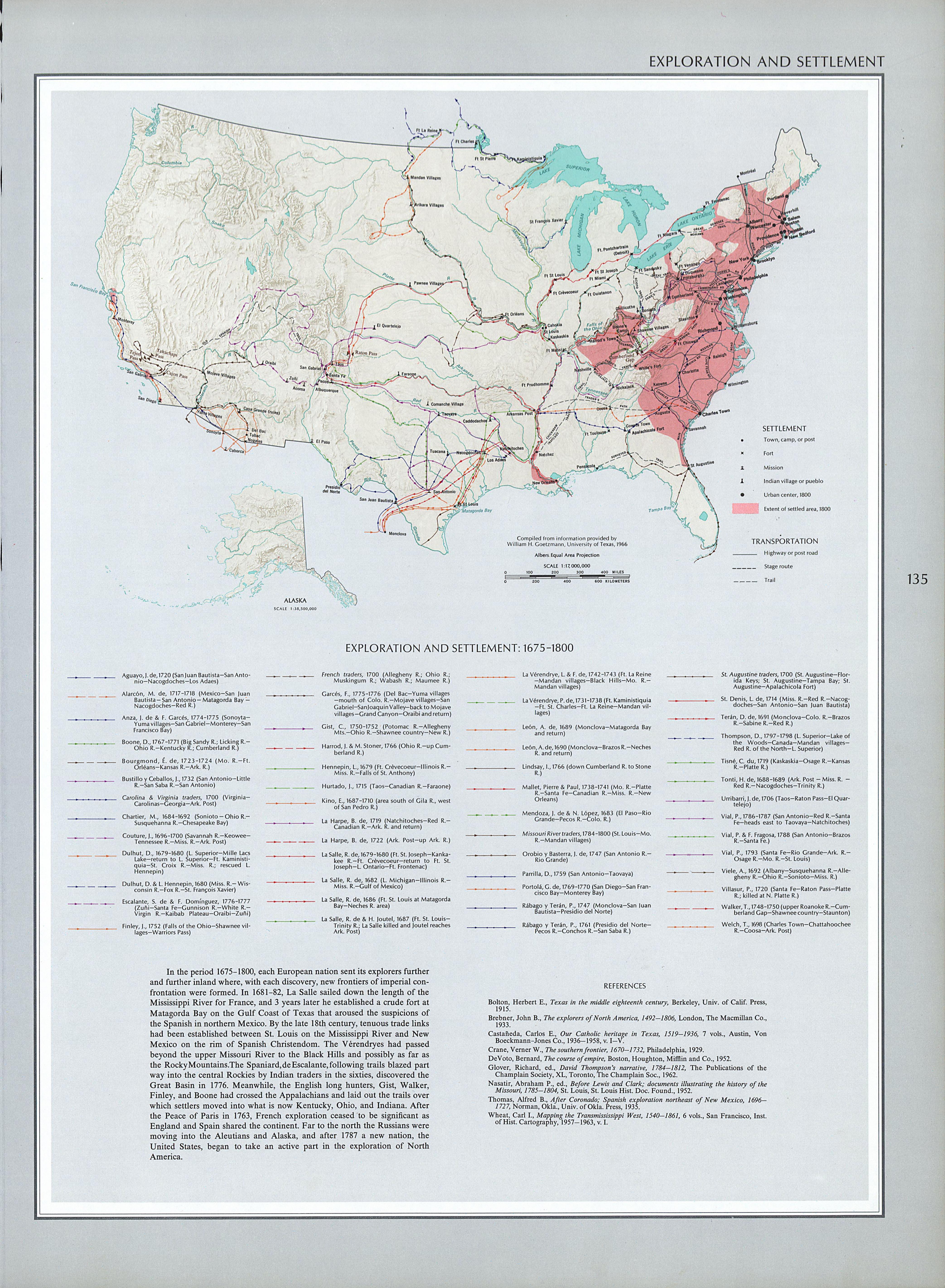 Mapa de Exploración y Asentamientos del Territorio de Estados Unidos 1675 - 1800