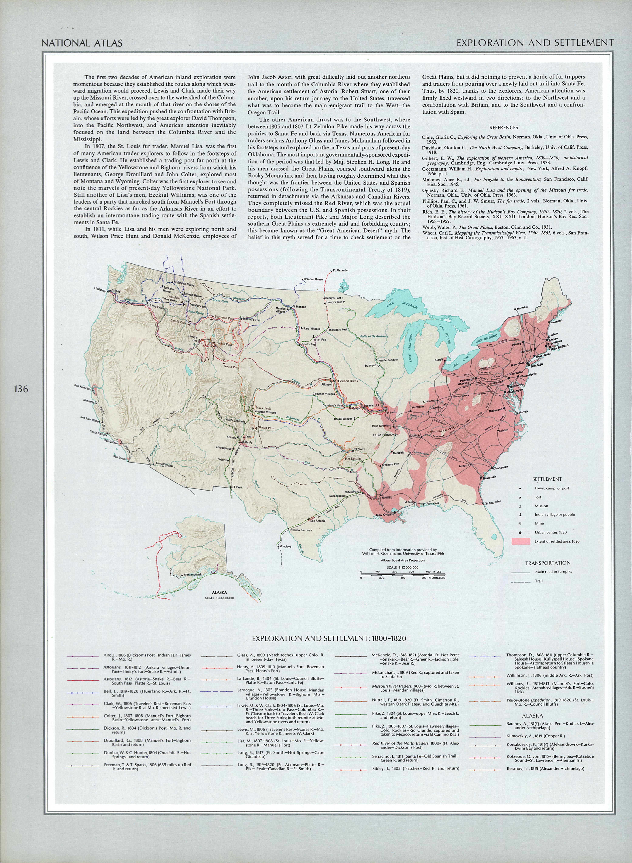 Mapa de Exploración y Asentamientos del Territorio de Estados Unidos 1800 - 1820