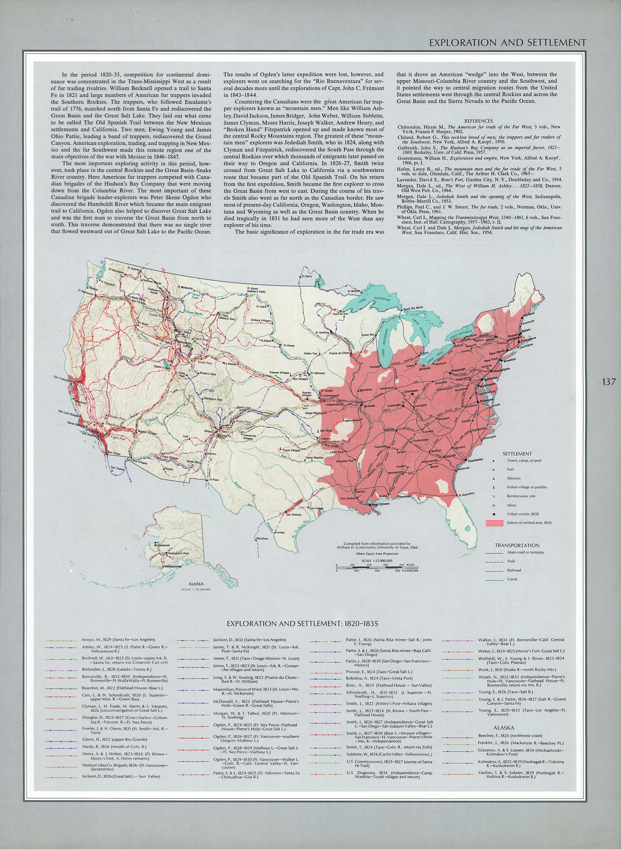Mapa de Exploración y Asentamientos del Territorio de Estados Unidos 1820 - 1835