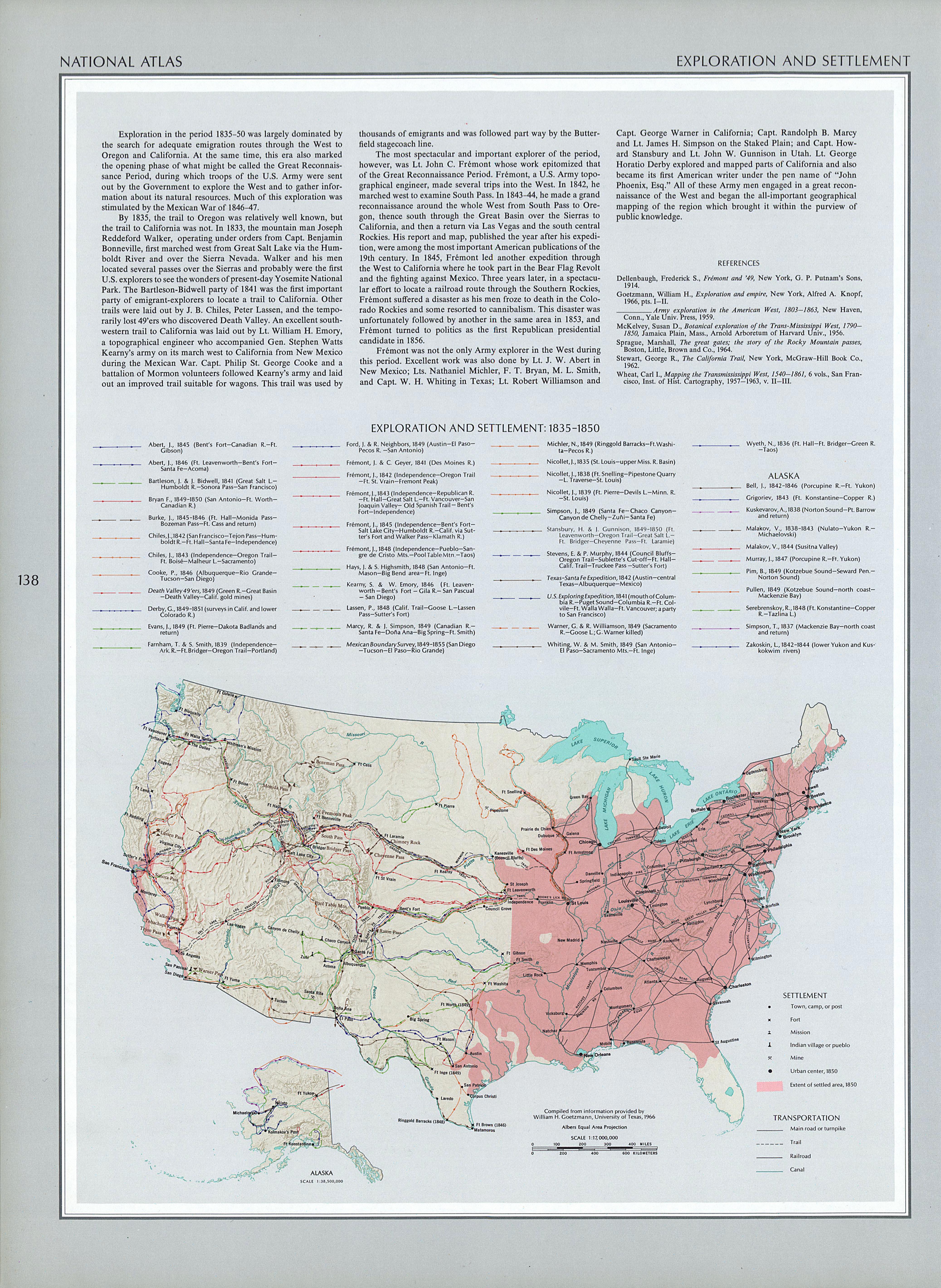 Mapa de Exploración y Asentamientos del Territorio de Estados Unidos 1835 - 1850