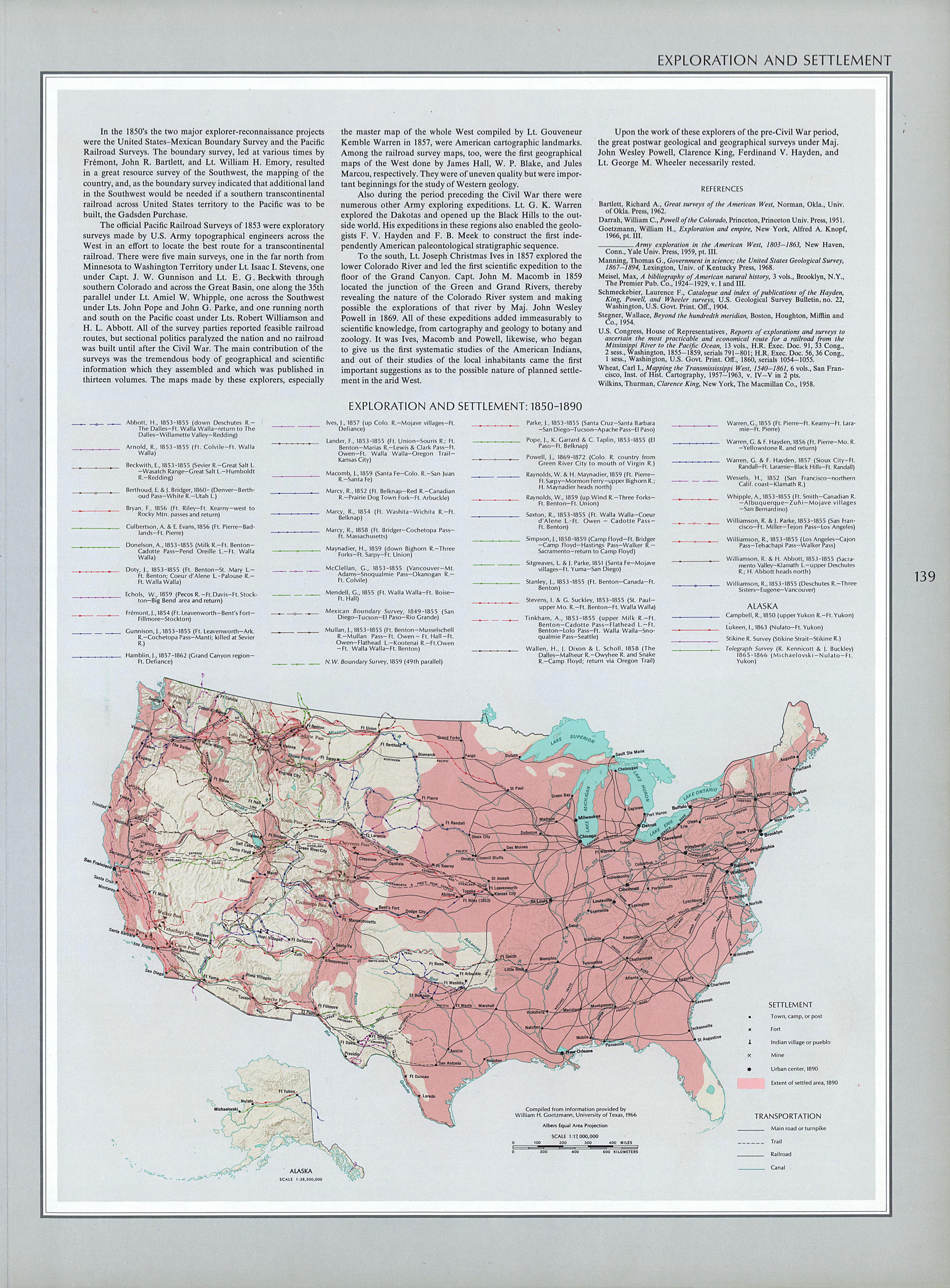 Mapa de Exploración y Asentamientos del Territorio de Estados Unidos 1850 - 1890