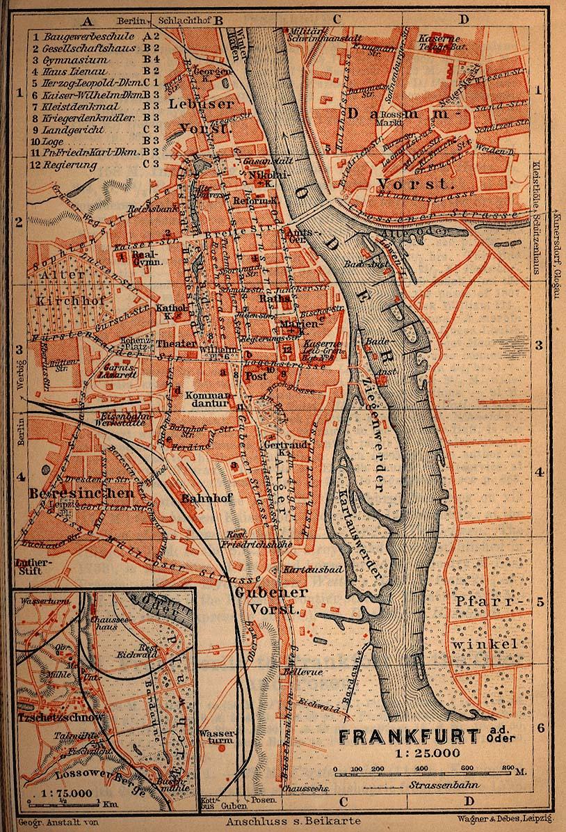 Mapa de Fráncfort del Óder, Alemania 1910