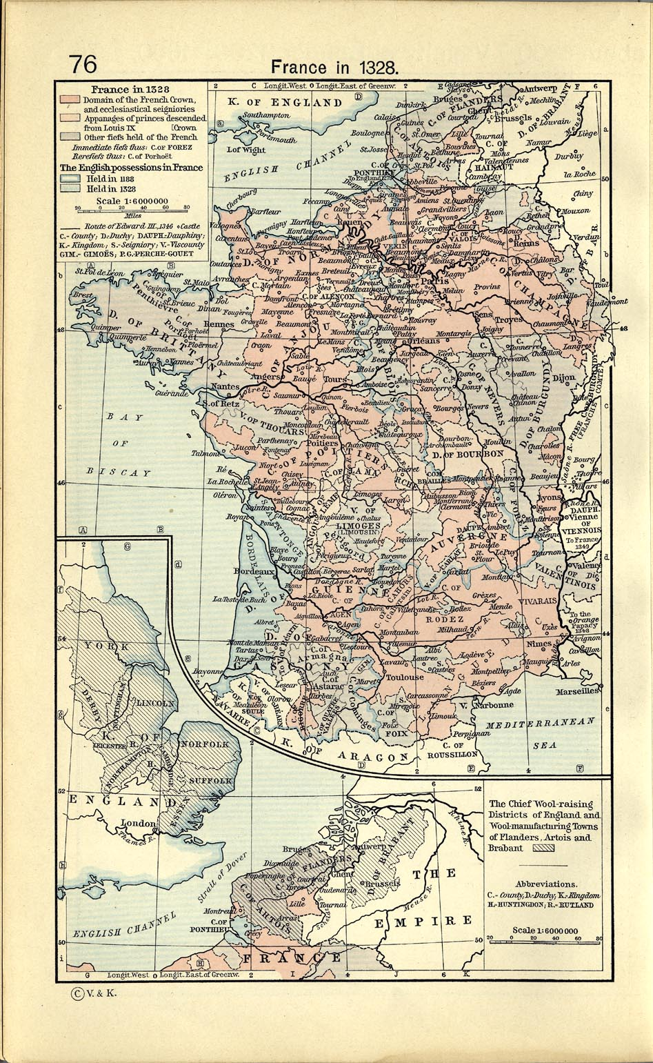 Map of France in 1328