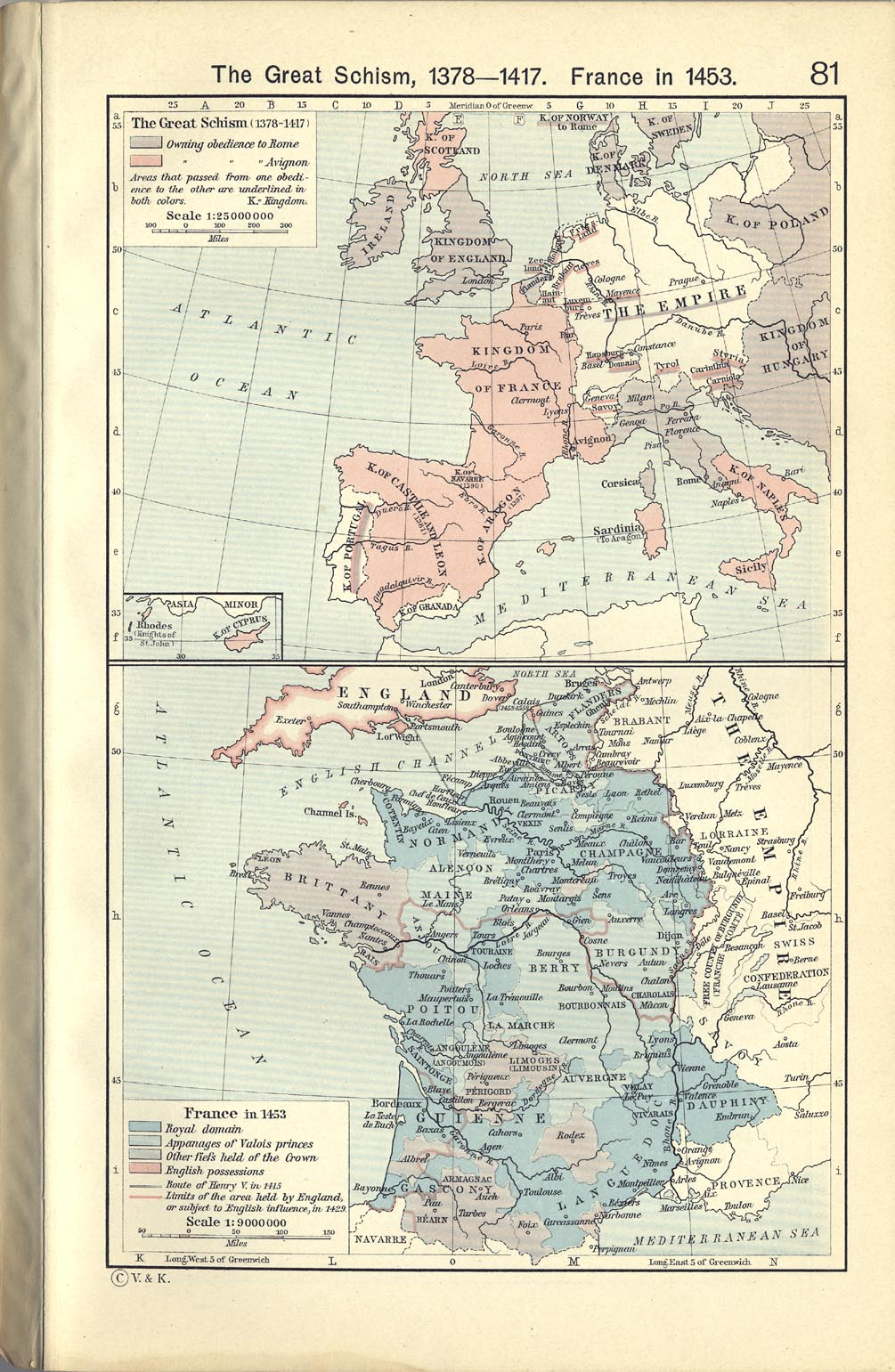 Map of France in 1453