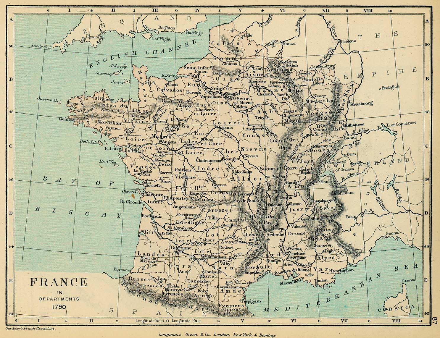 Map of France in Departments, 1790