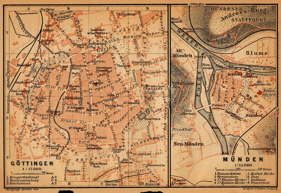 Mapa de Gotinga, Alemania 1910