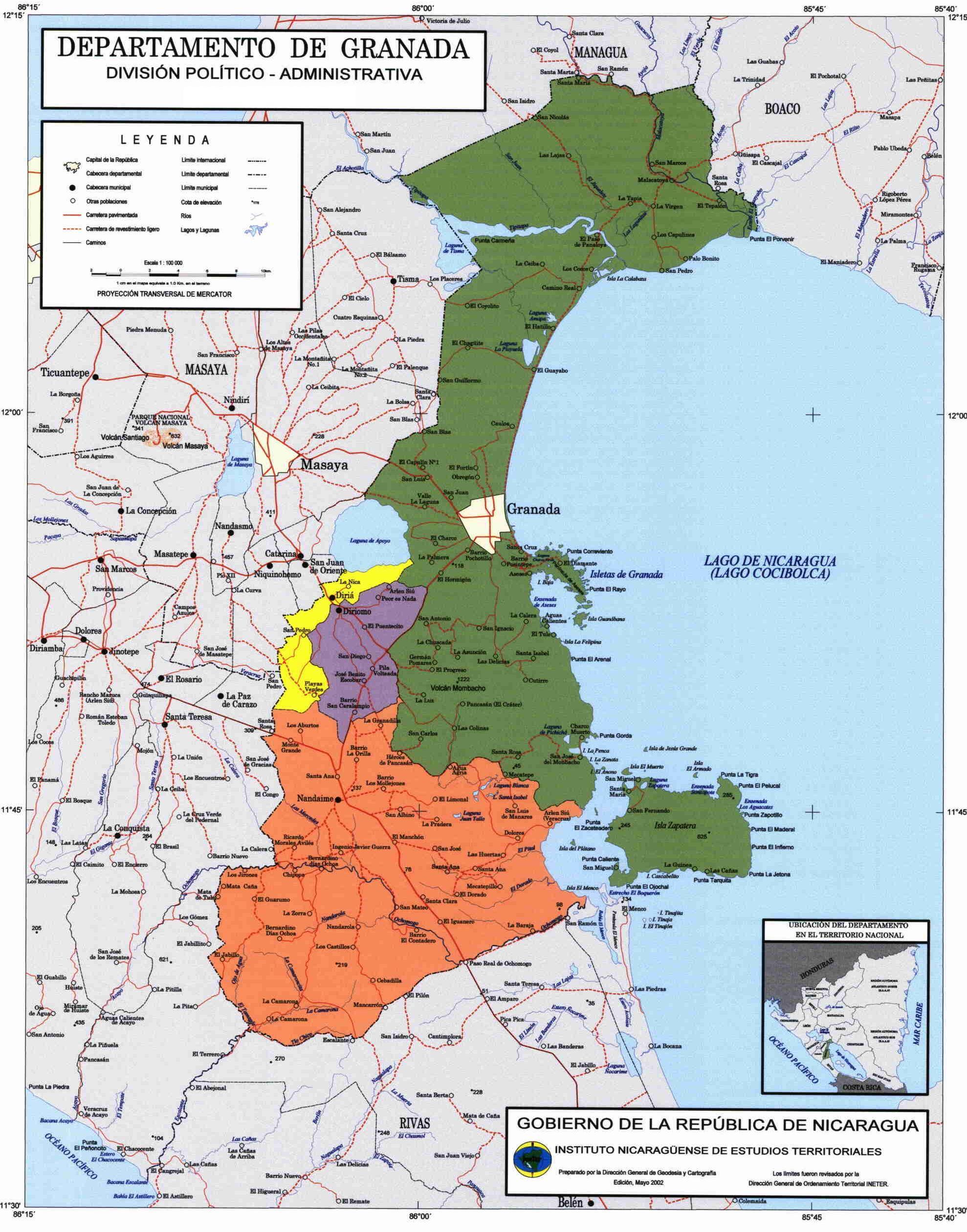 Mapa de Granada, División Político-Administrativa del Departamento, Nicaragua