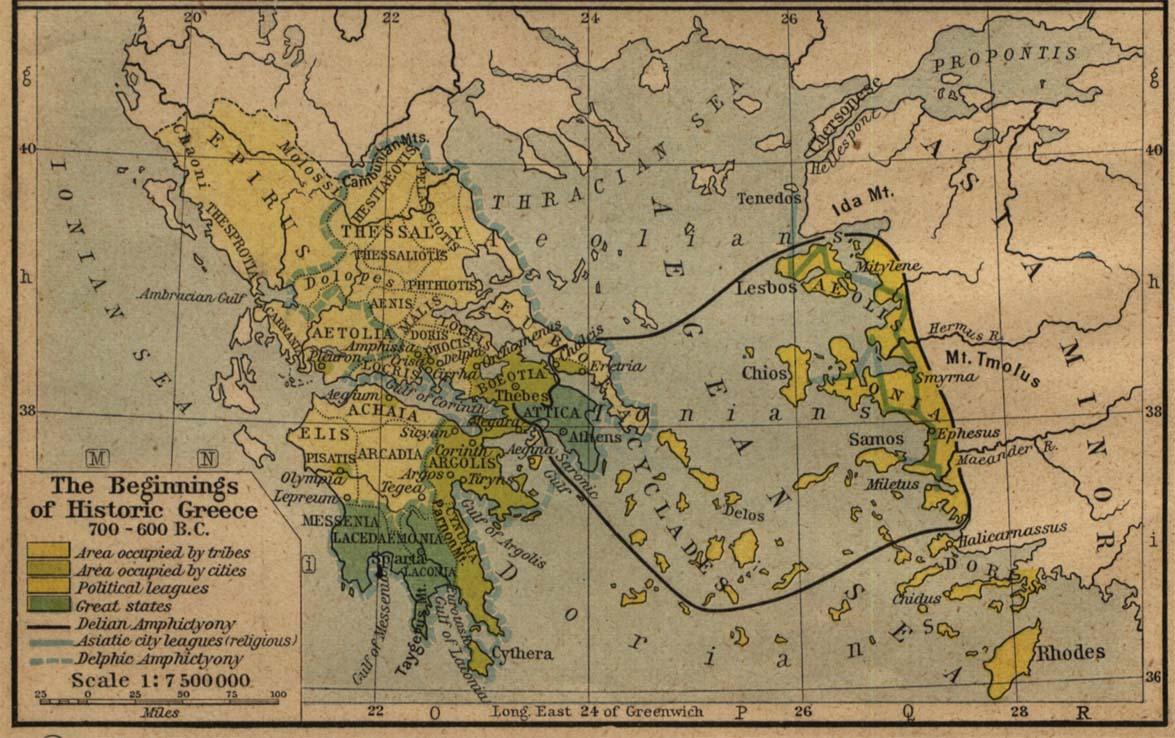 Map of Greece 700 B.C.- 600 B.C.