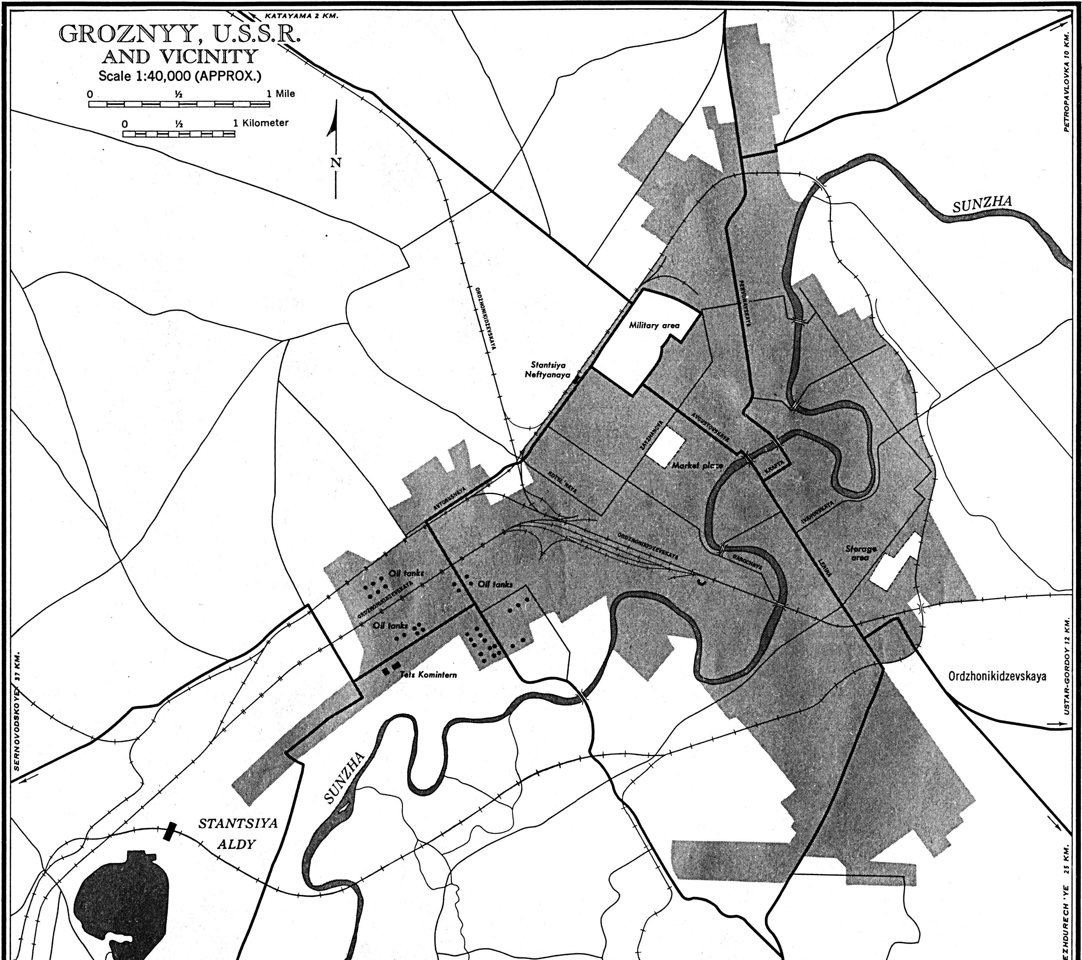 Grozny and Vecinity Map, Chechnya, Russia 1959