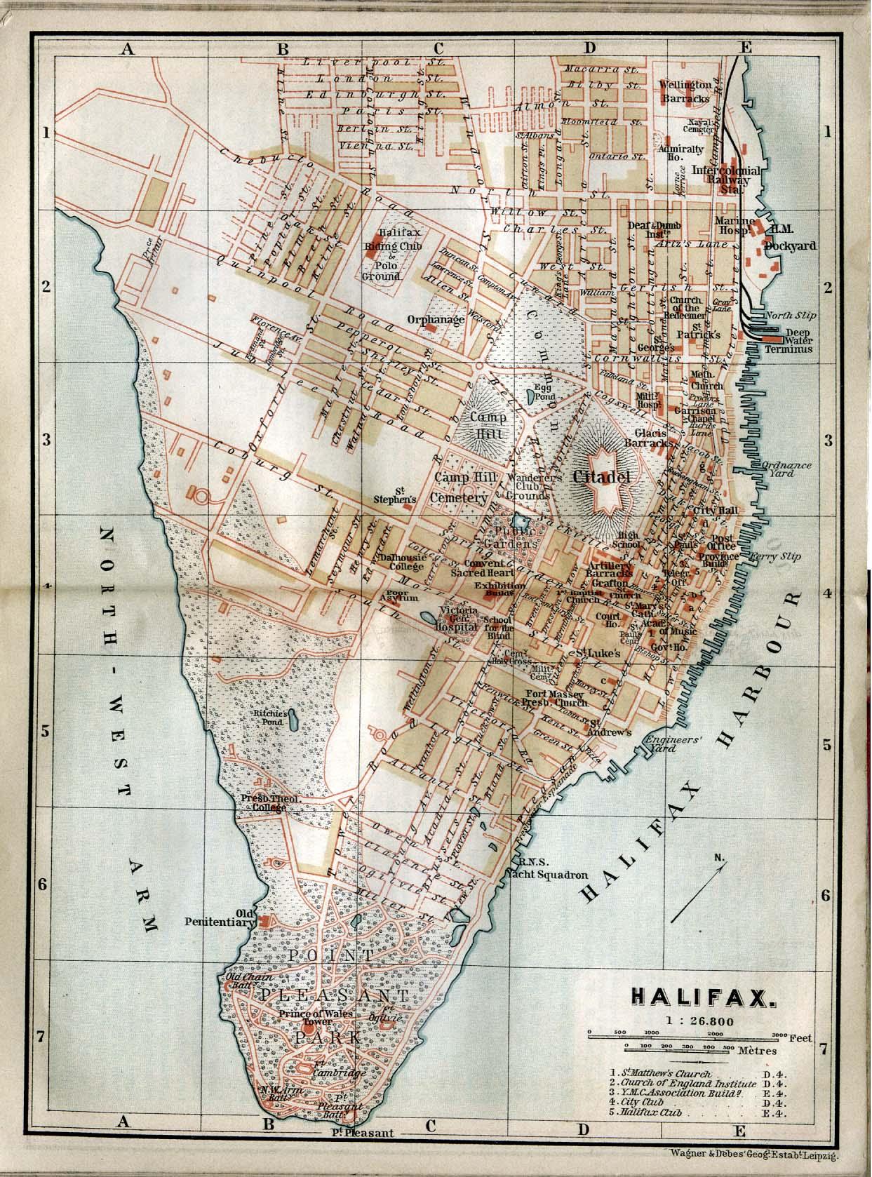 Mapa de Halifax, Nueva Escocia, Canadá 1894