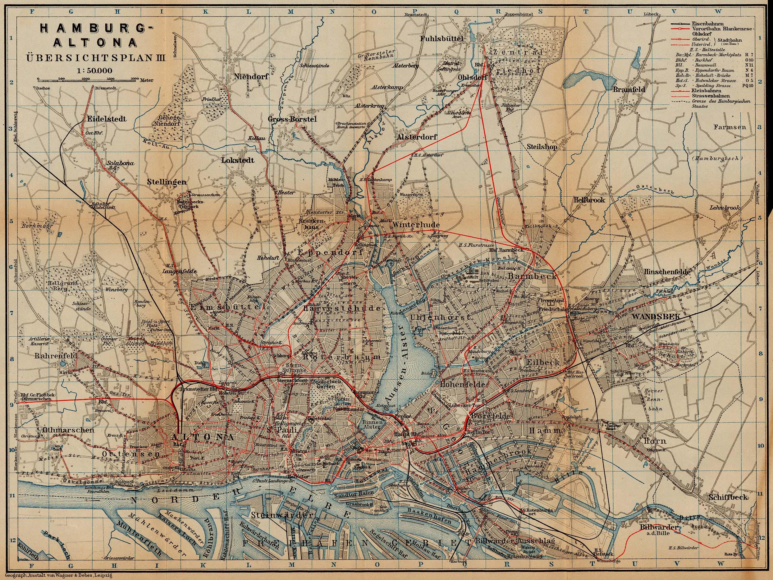 Mapa de Hamburgo (Tranvía y Ferrocarril), Alemania 1910