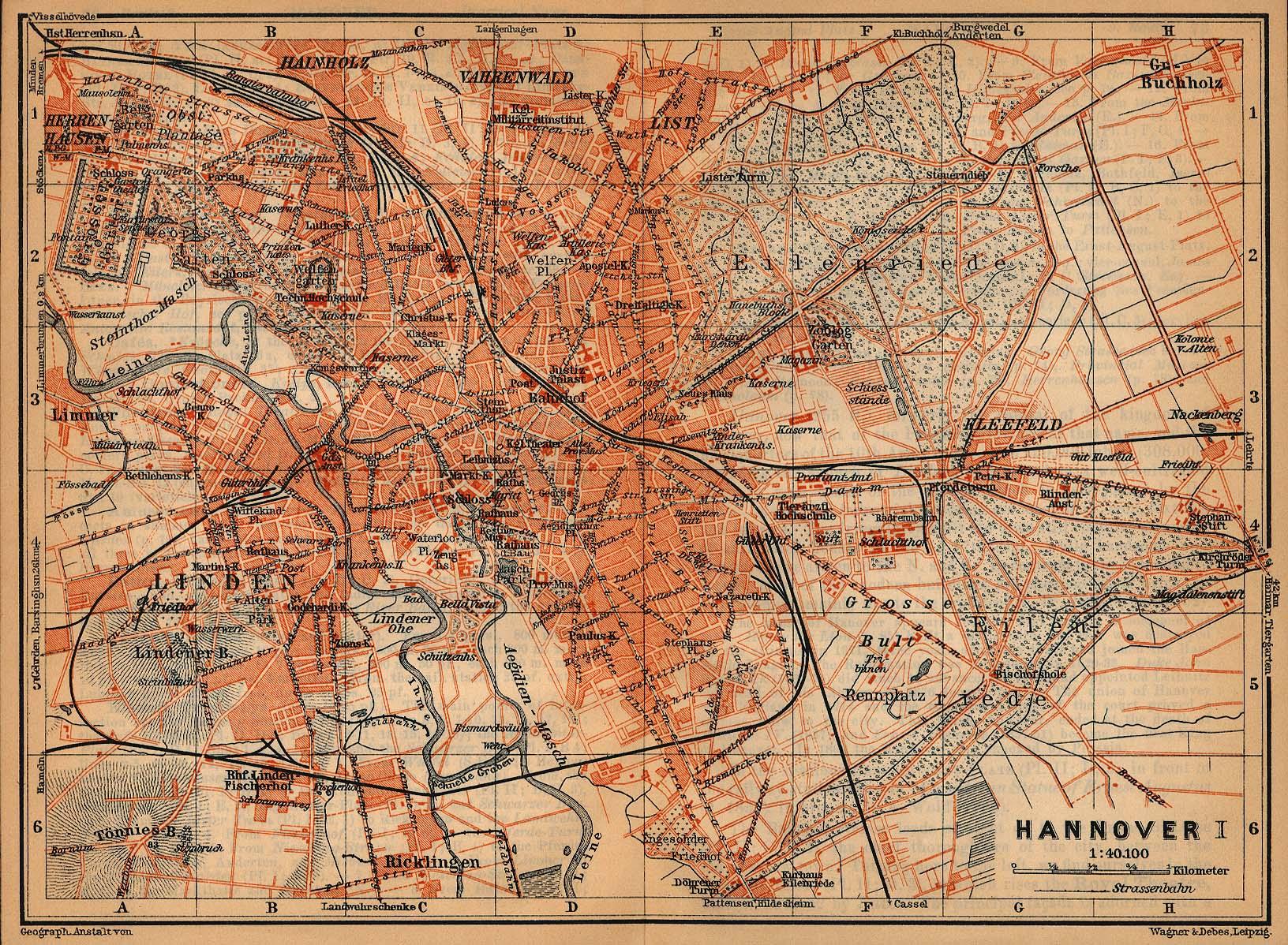 Mapa de Hanóver, Alemania 1910