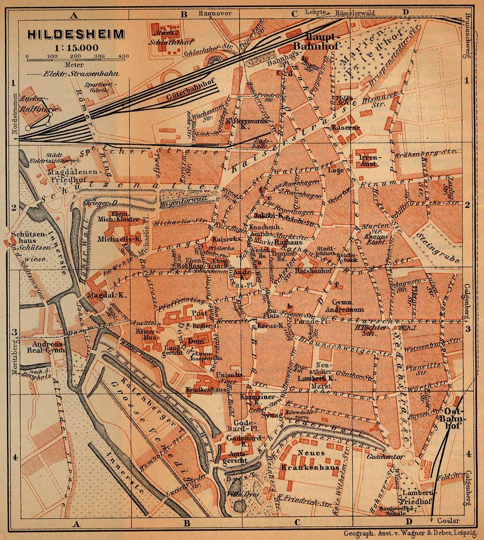Mapa de Hildesheim, Alemania 1910